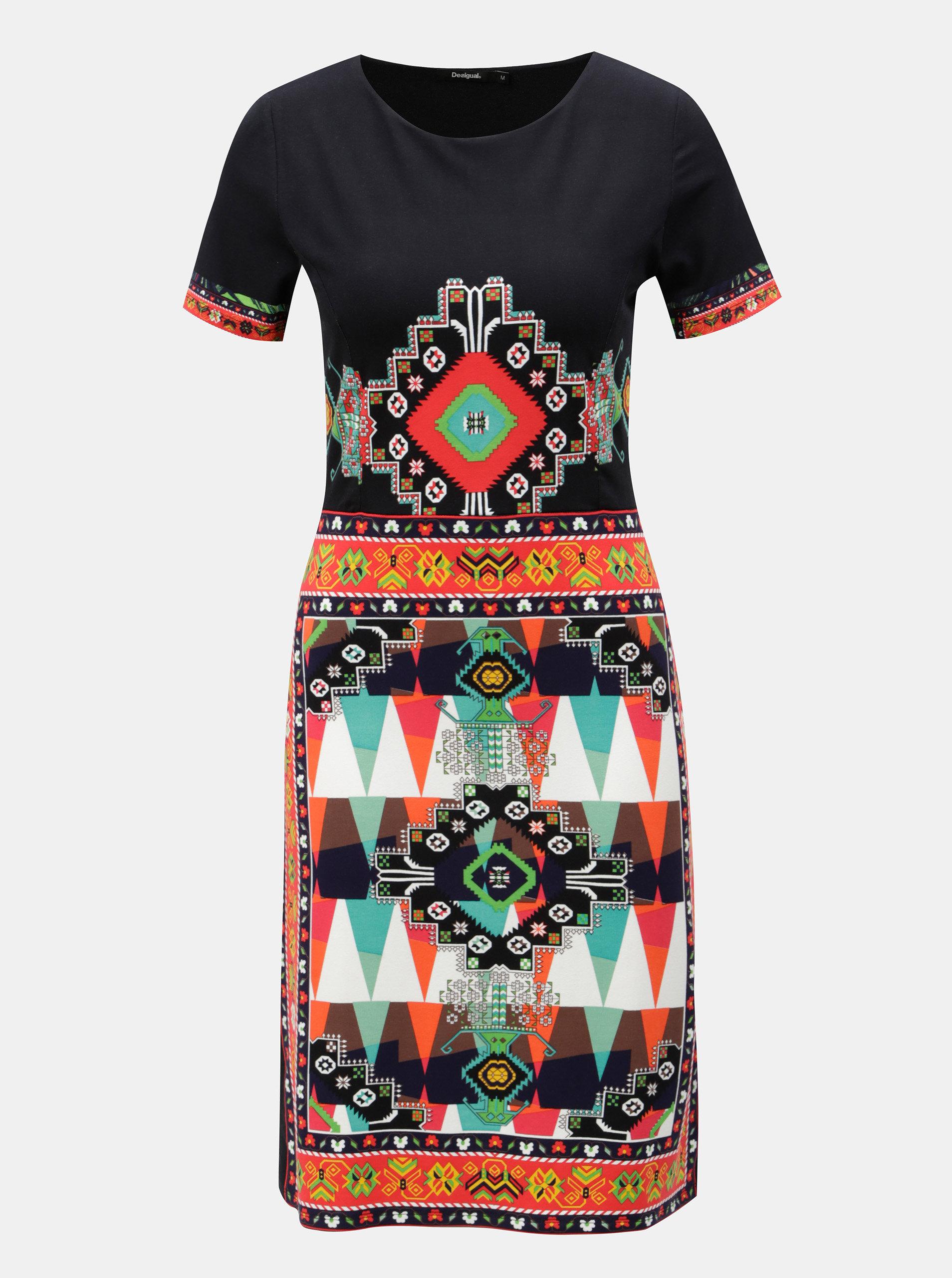 Čierne vzorované šaty s krátkym rukávom Desigual Josephinne ... f04f3747632