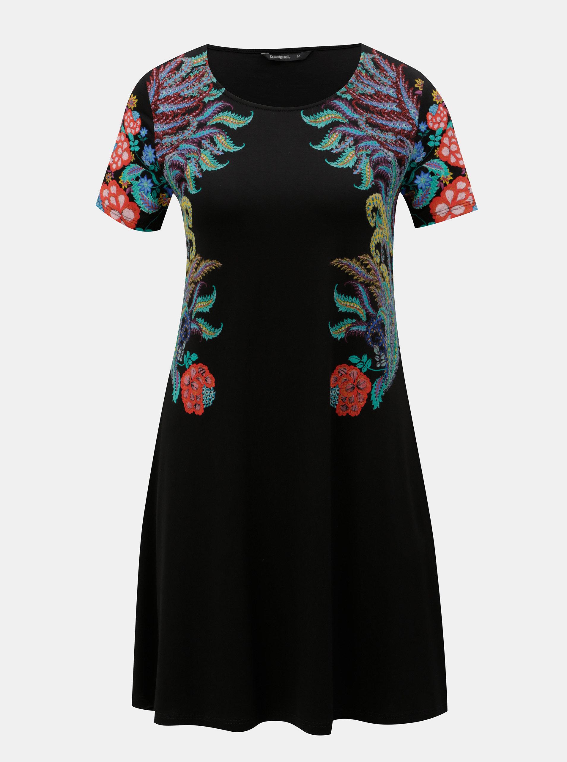 Čierne šaty s potlačou a krátkym rukávom Desigual Mara ... e9ce8451b39