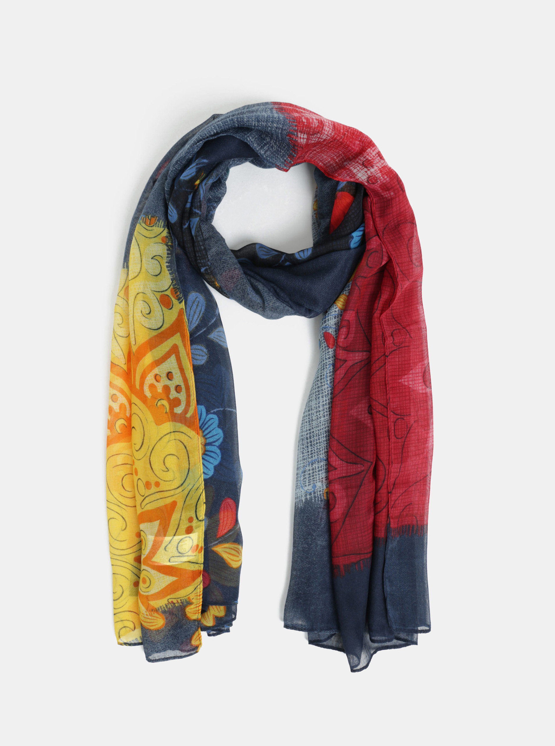 Tmavě modrý květovaný šátek Desigual Gloria