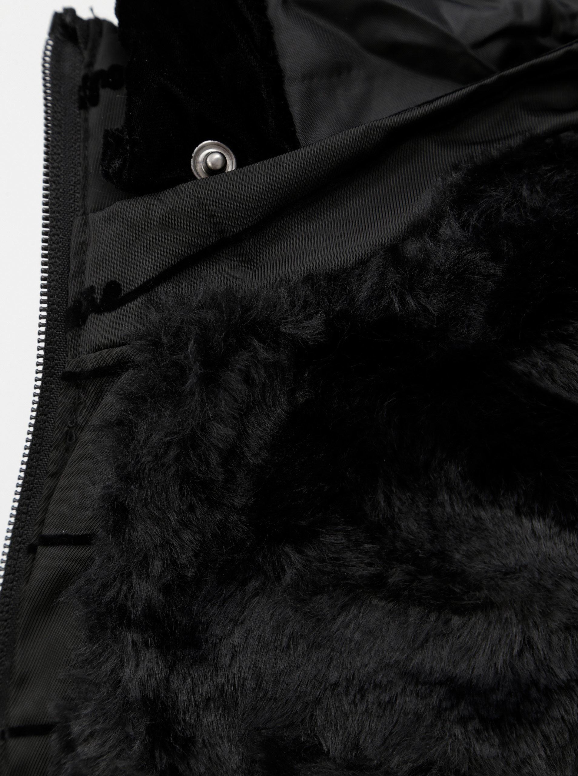 Černý prošívaný zimní kabát se šněrováním Desigual Lucille ... 15ef94aa041