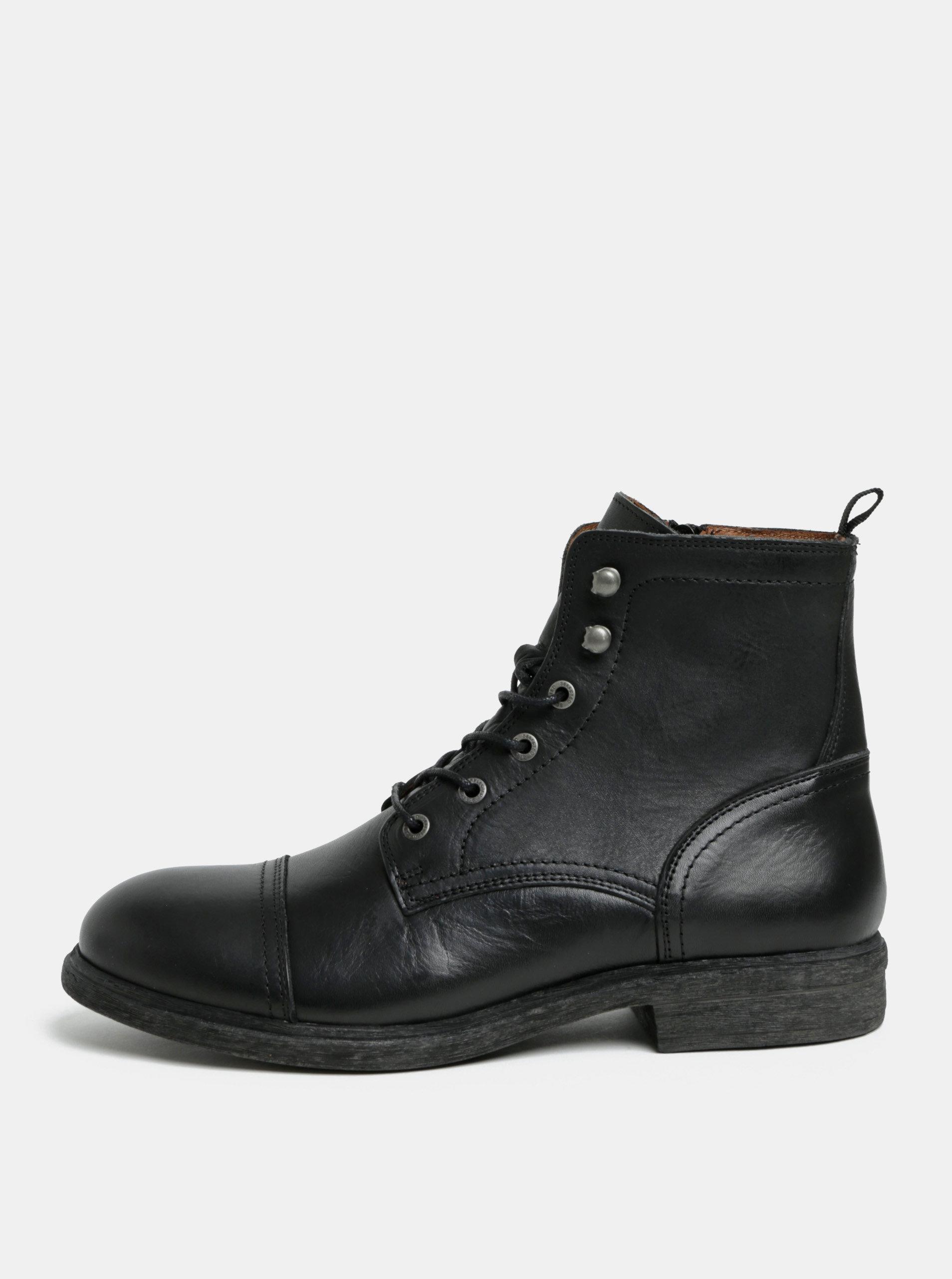 378a5f509c Čierne pánske kožené členkové topánky Selected Homme Therrel ...