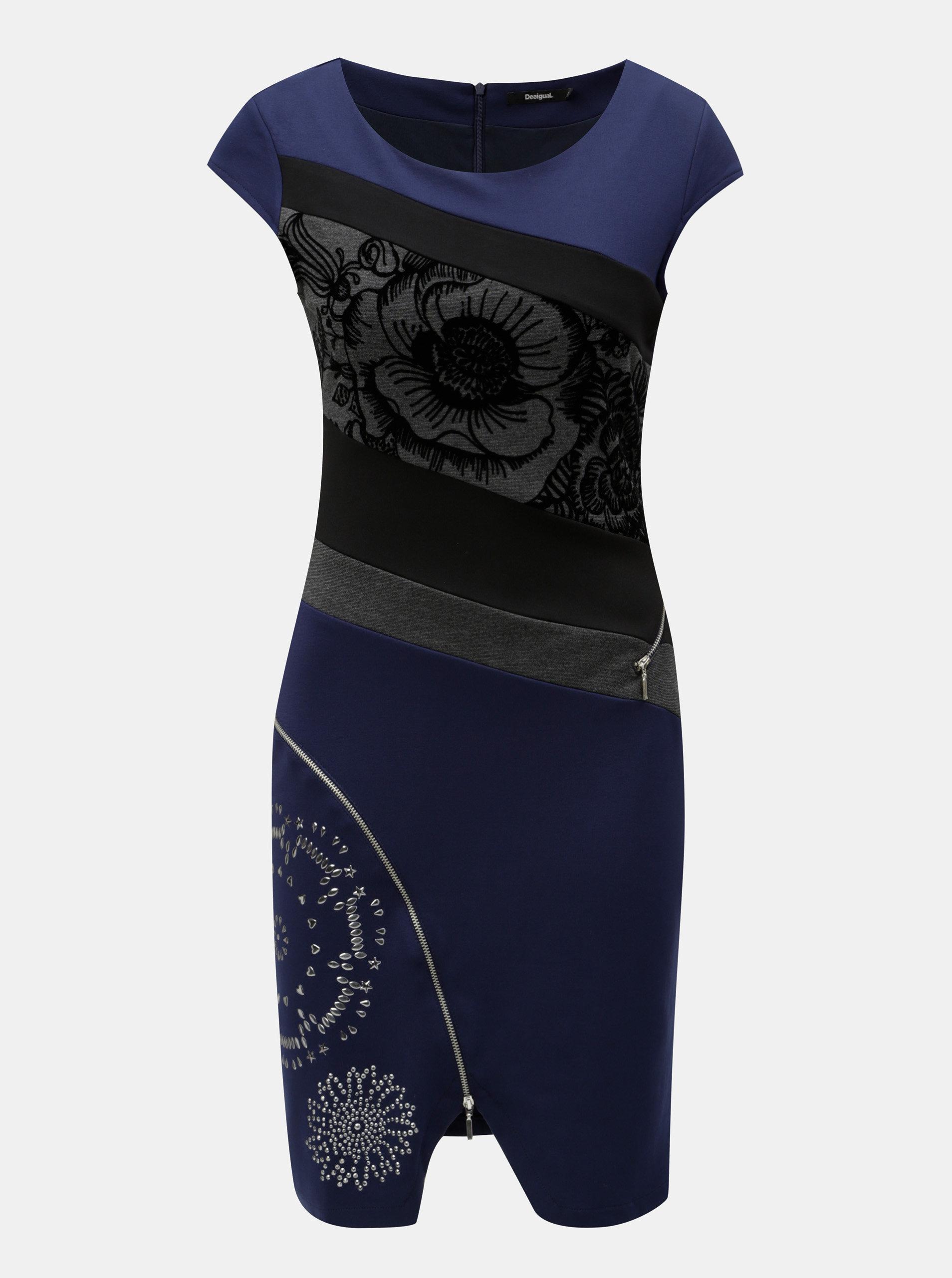 Černo-modré pouzdrové šaty se zipy Desigual ... 0fc7af34e4