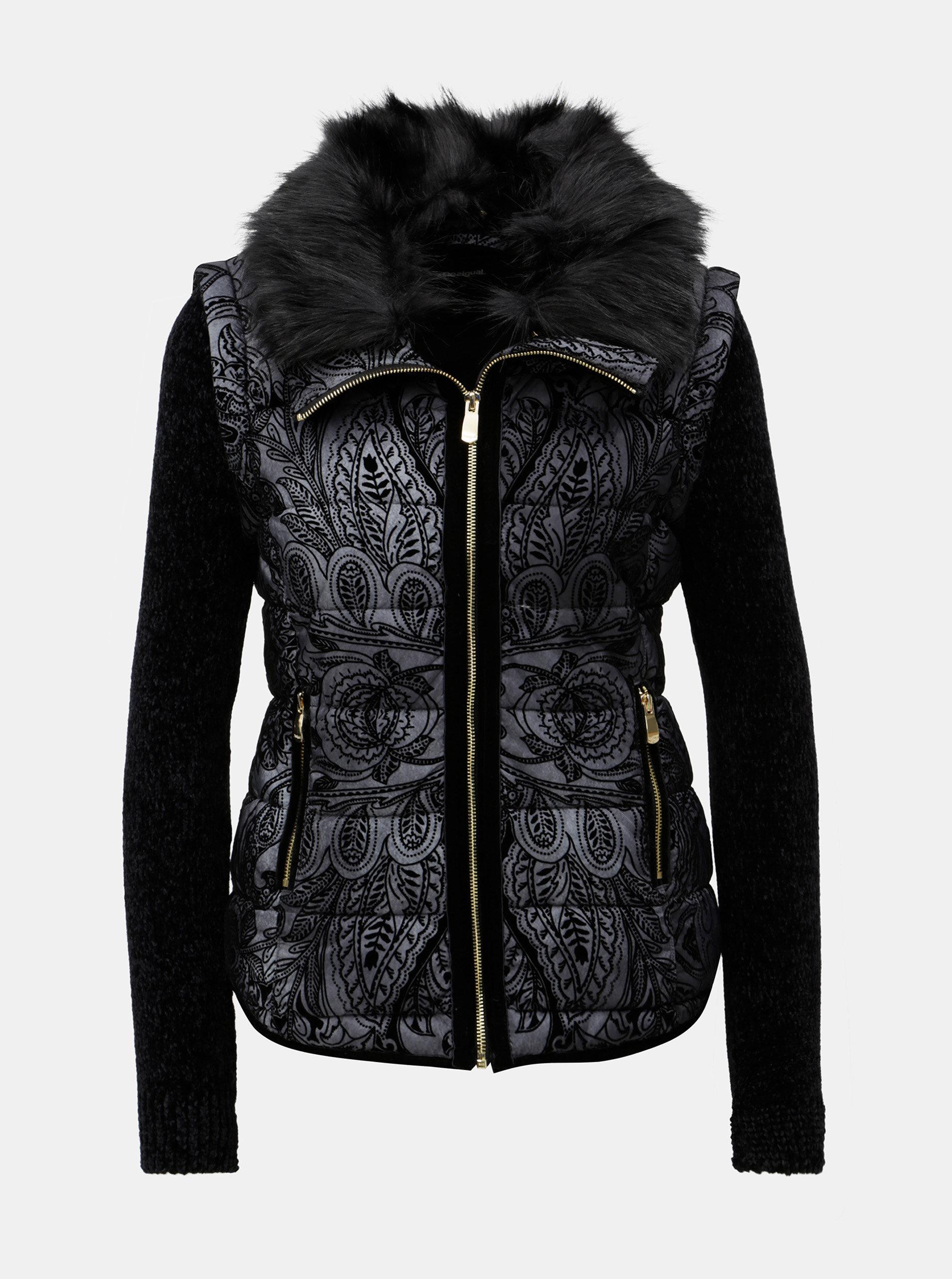Čierno-sivá vzorovaná bunda vesta s kožúškom Desigual Alexandra ... 81492aa74d2