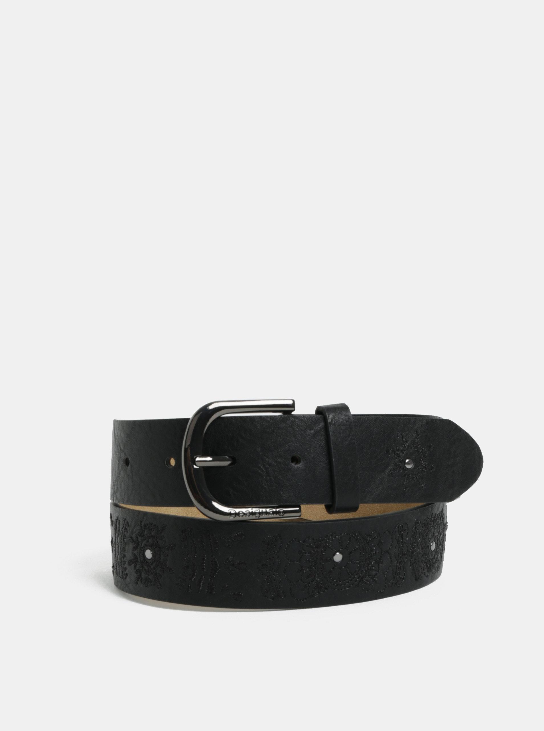 Černý koženkový vzorovaný pásek Desigual Mandala