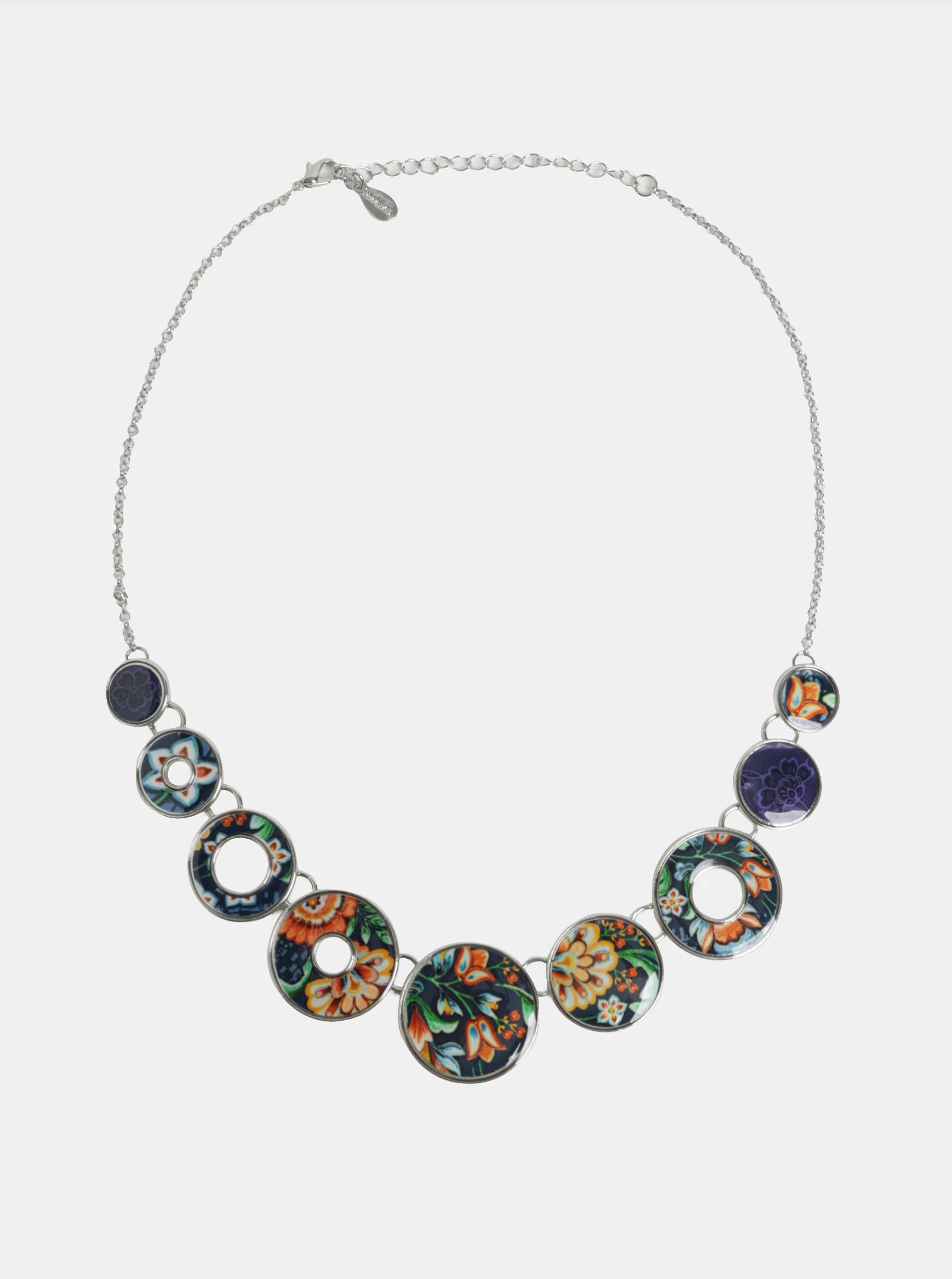 Tmavě modrý květovaný náhrdelník Desigual Kora