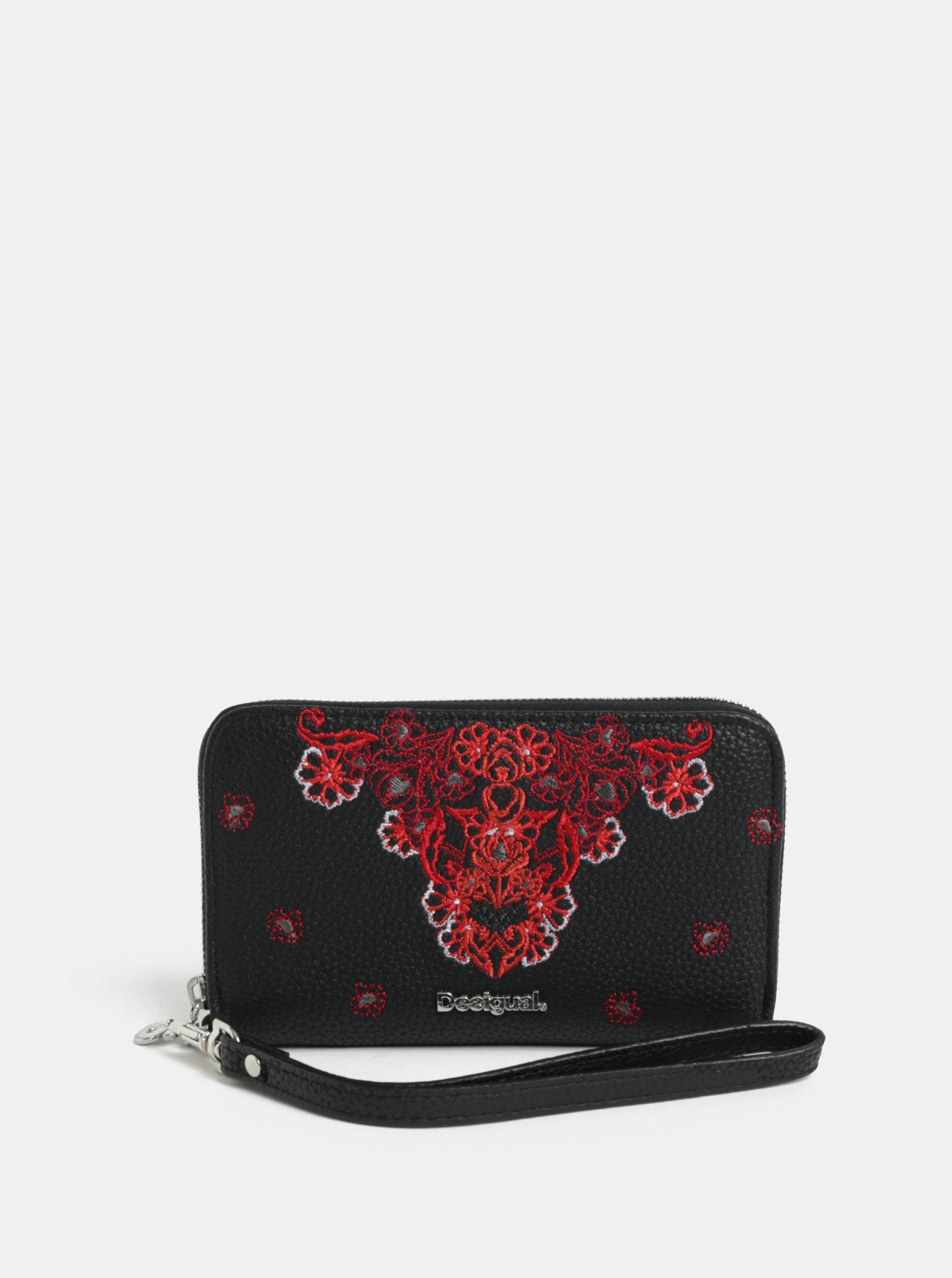 Černá koženková květovaná peněženka Desigual Manuela