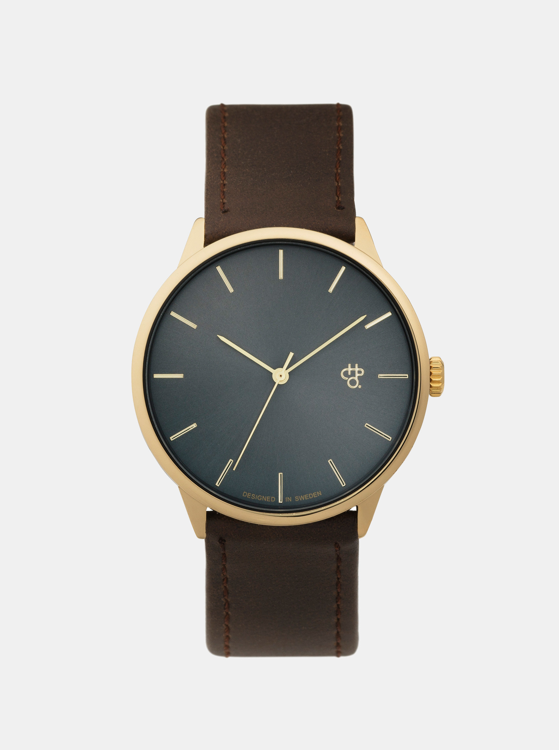 Unisex hodinky s hnědým páskem z veganské kůže CHPO Khorshid Gold