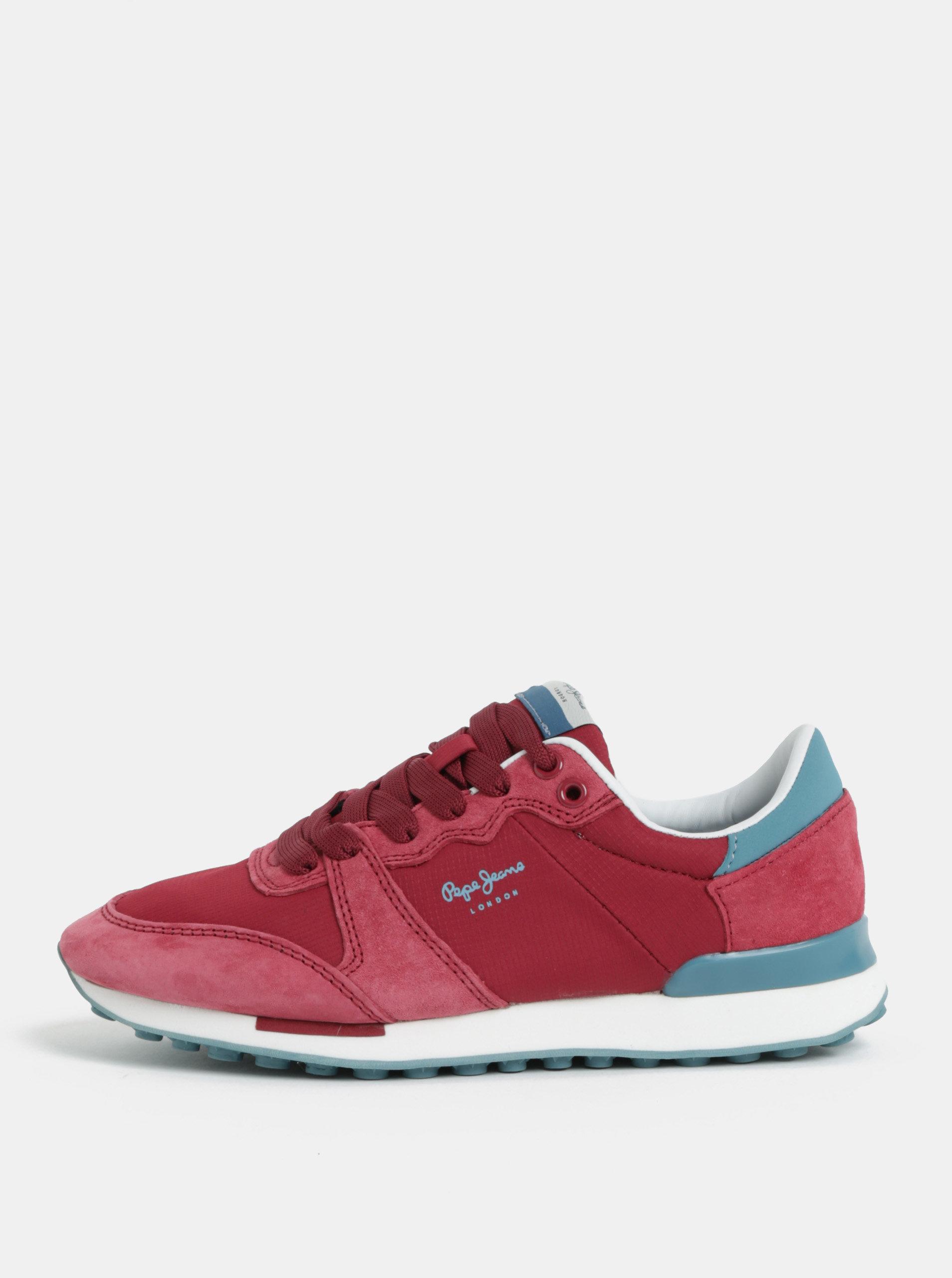 Tmavě růžové dámské semišové tenisky Pepe Jeans Bimba
