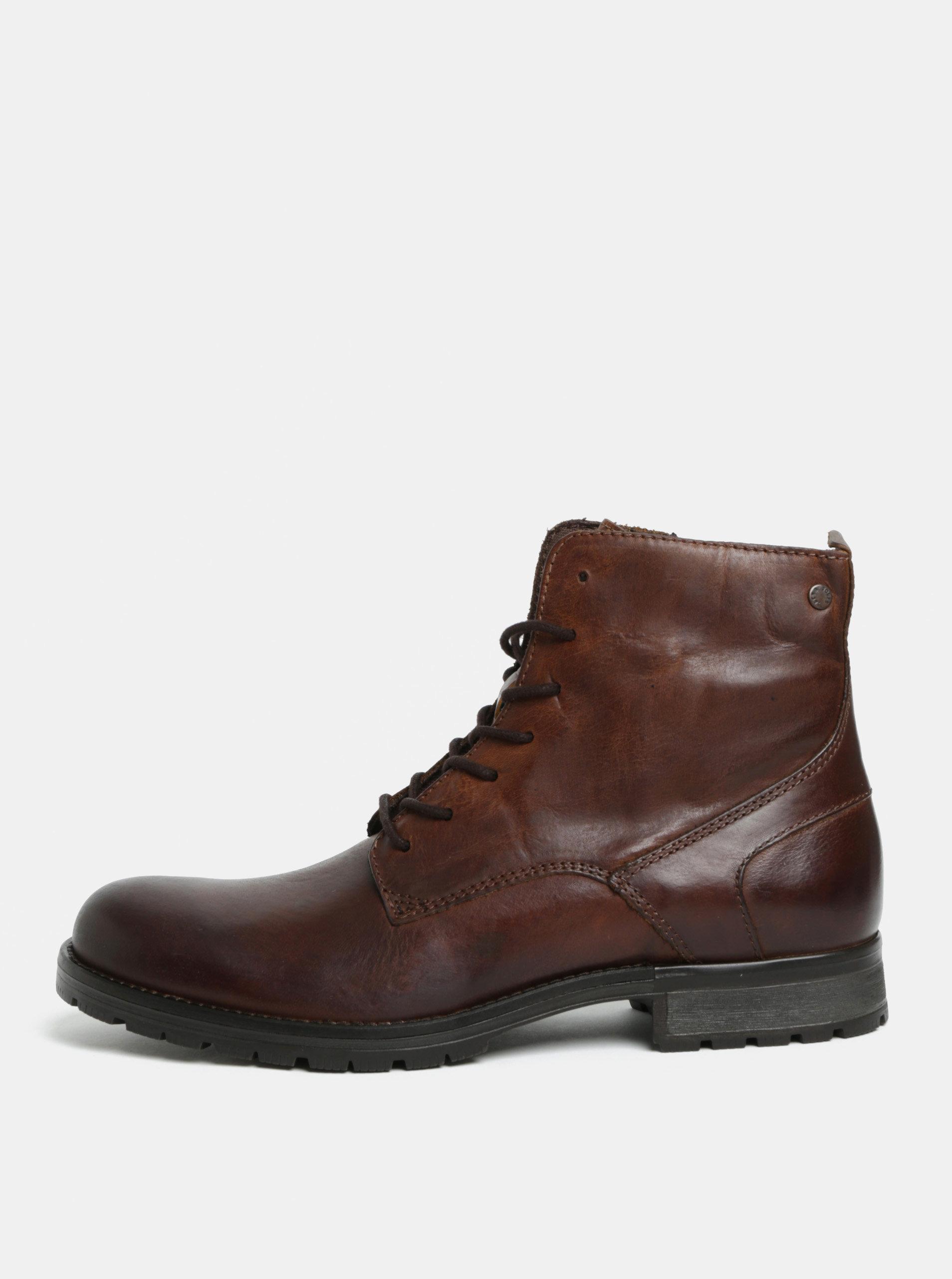 711063e994d4 Tmavohnedé pánske kožené členkové topánky Jack   Jones Worca ...