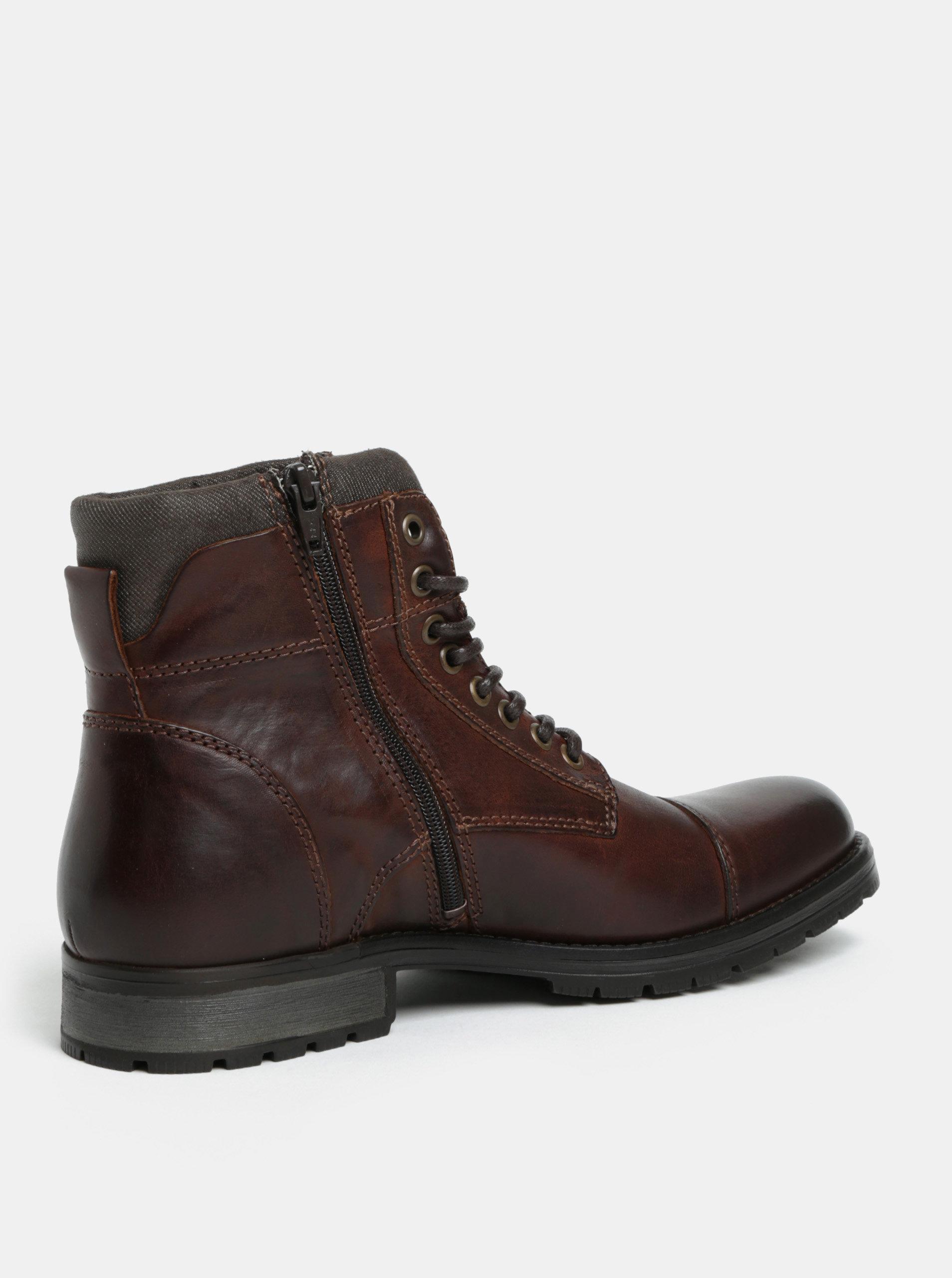 53f695c7d80 Tmavě hnědé pánské kožené kotníkové boty s přezkou Jack   Jones Bany ...