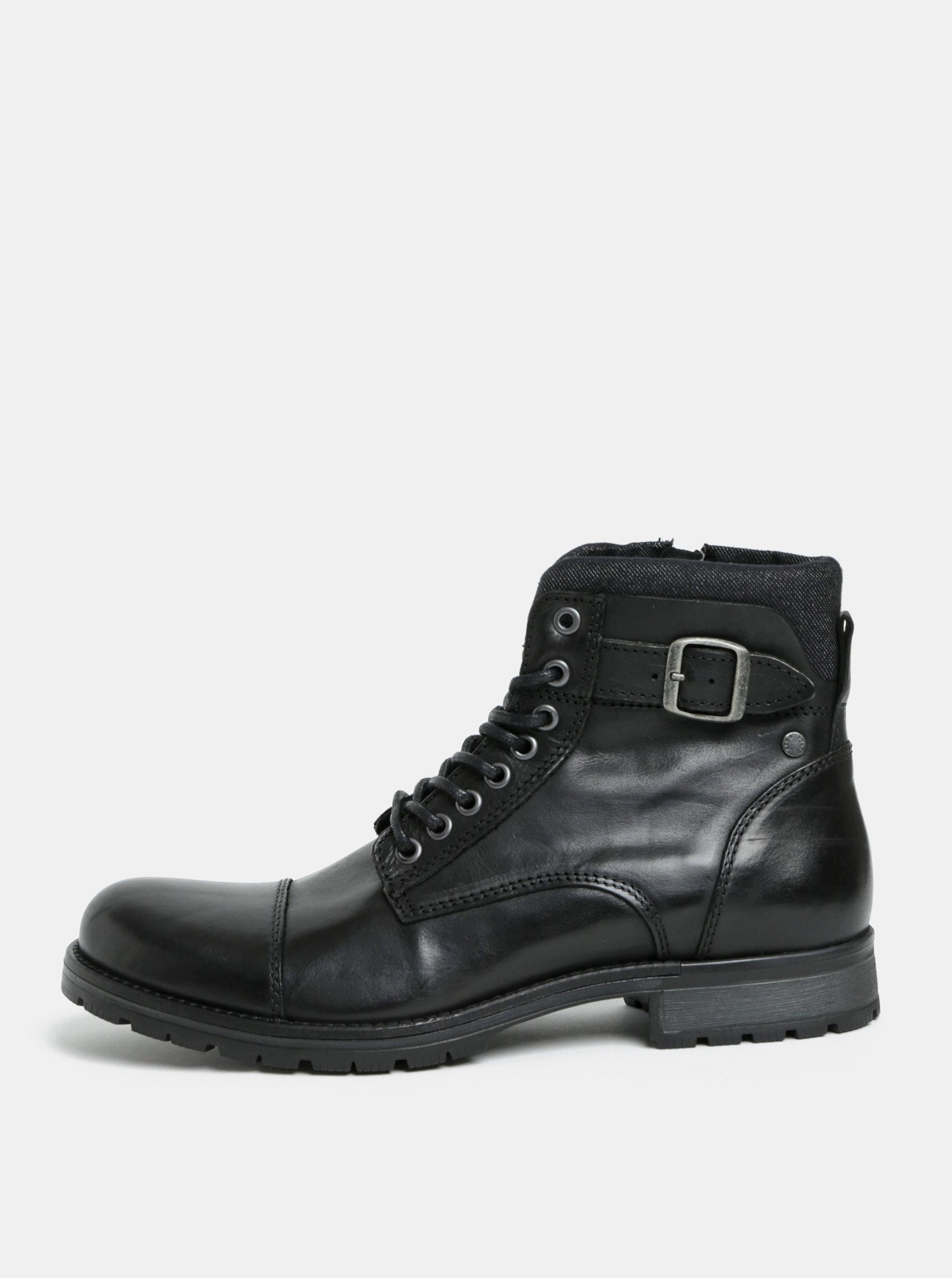 904471320ce Černé pánské kožené kotníkové boty s přezkou Jack   Jones Bany ...