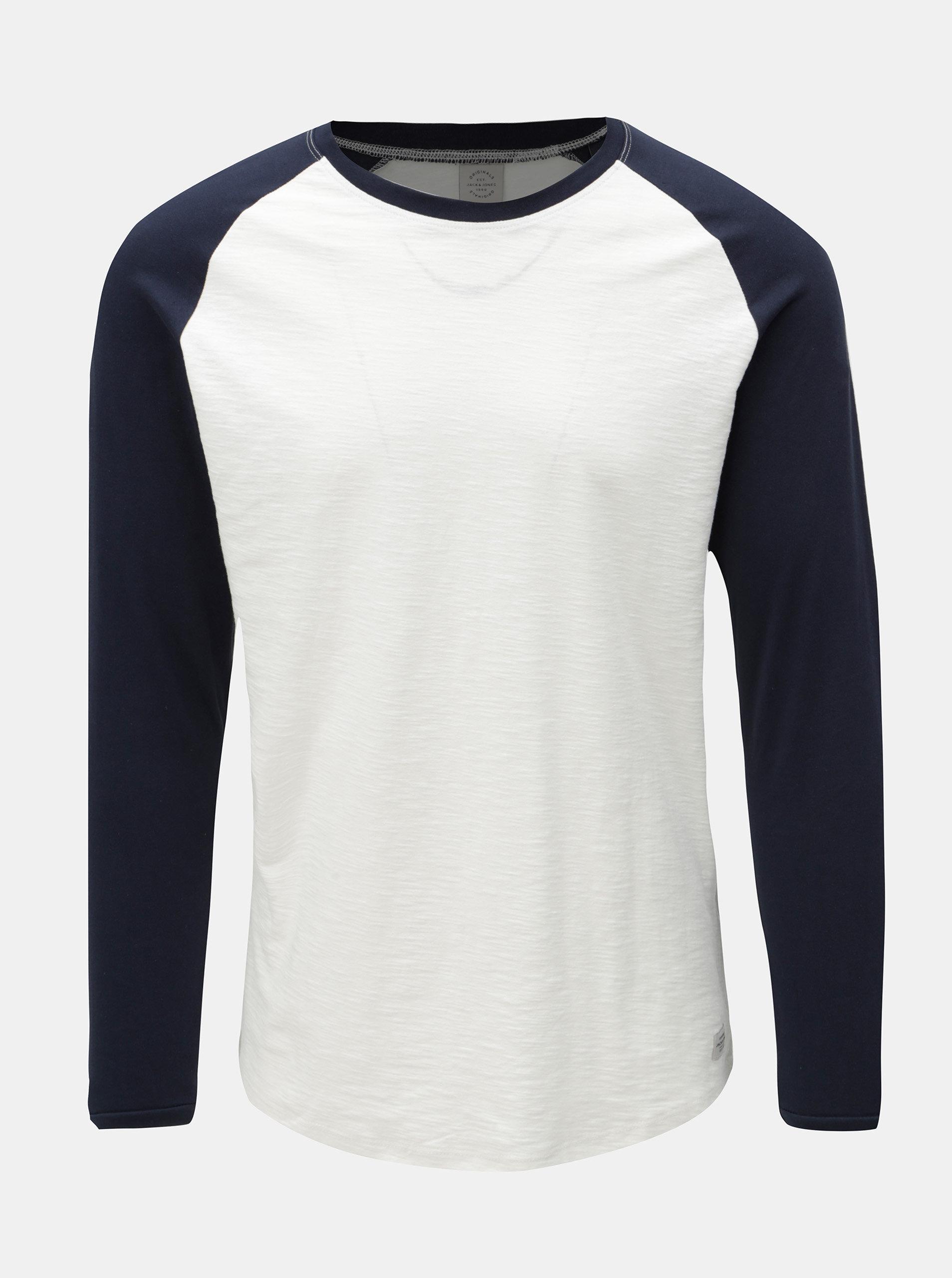 86cbe5972 Modro-biele pánske jemne melírované tričko s dlhým rukávom Jack & Jones ...