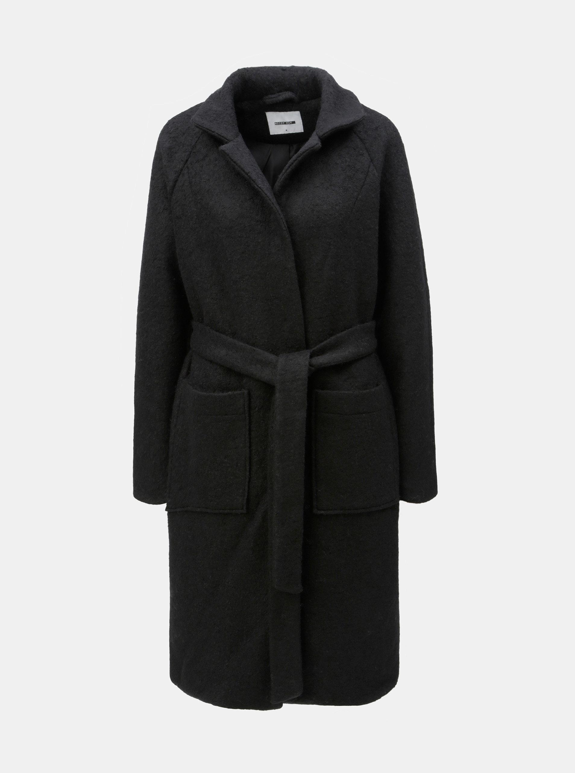 2af786ea5 Čierny vlnený kabát s vreckami a opaskom Noisy May Zoe   ZOOT.sk