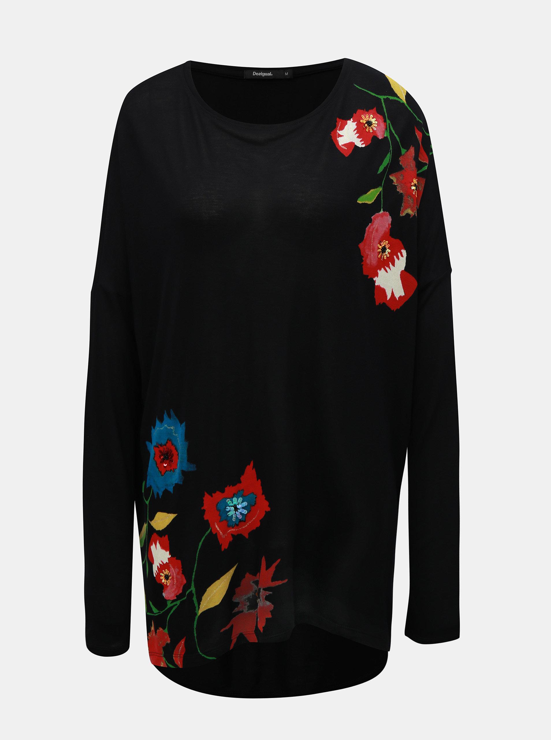 8f3d92b1dfcb Čierna tunika s potlačou kvetov a dlhým rukávom Desigual ...