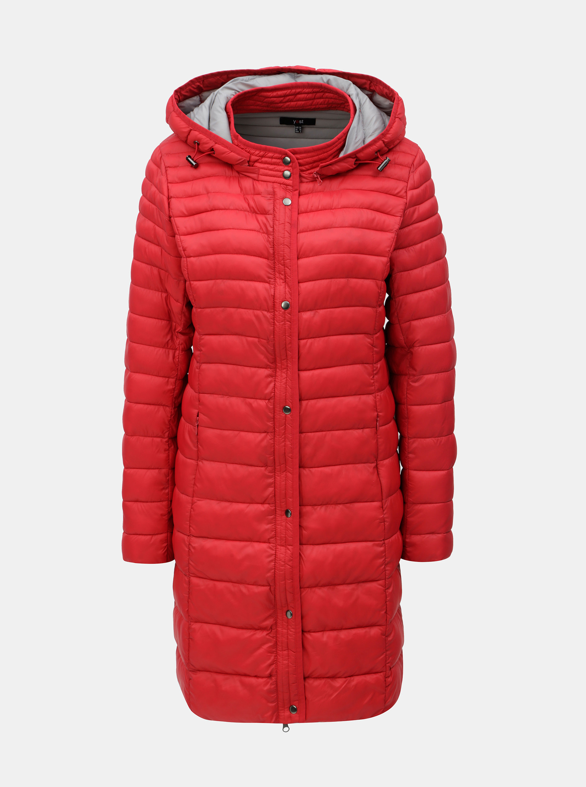 Červený prešívaný kabát s kapucňou Yest ... 720ab928382