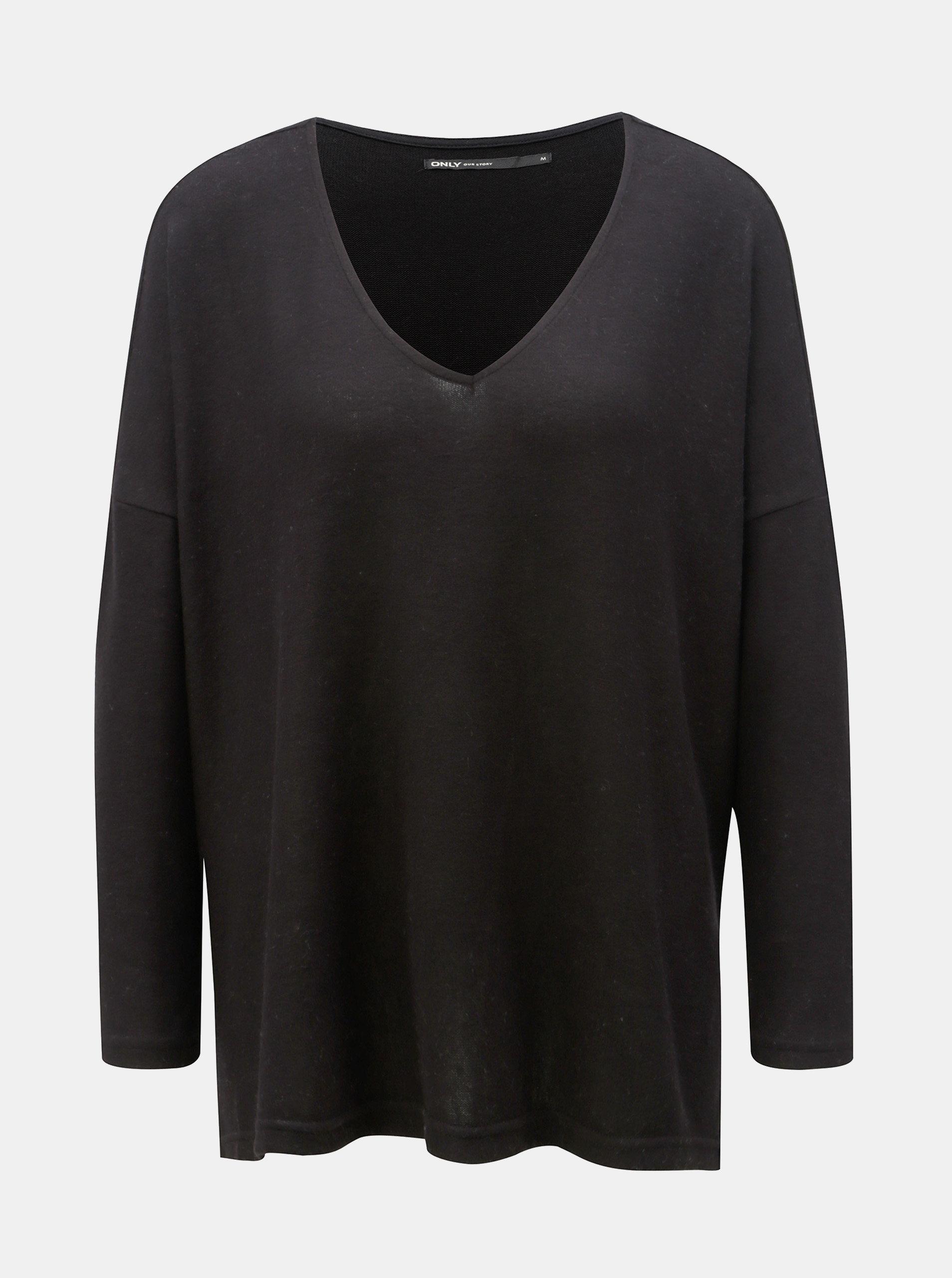 Černý oversize svetr s rozparky ONLY Kleo