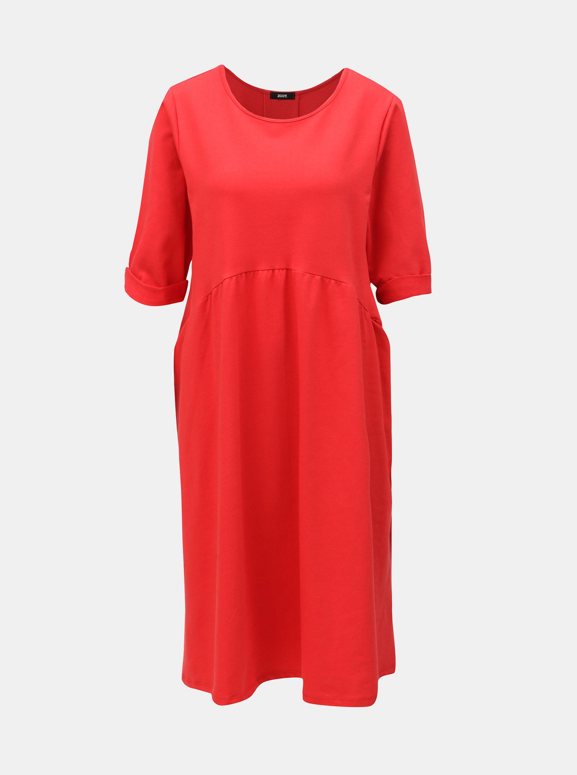 0ebaabeddc88 Červené voľné šaty s volánom ZOOT ...