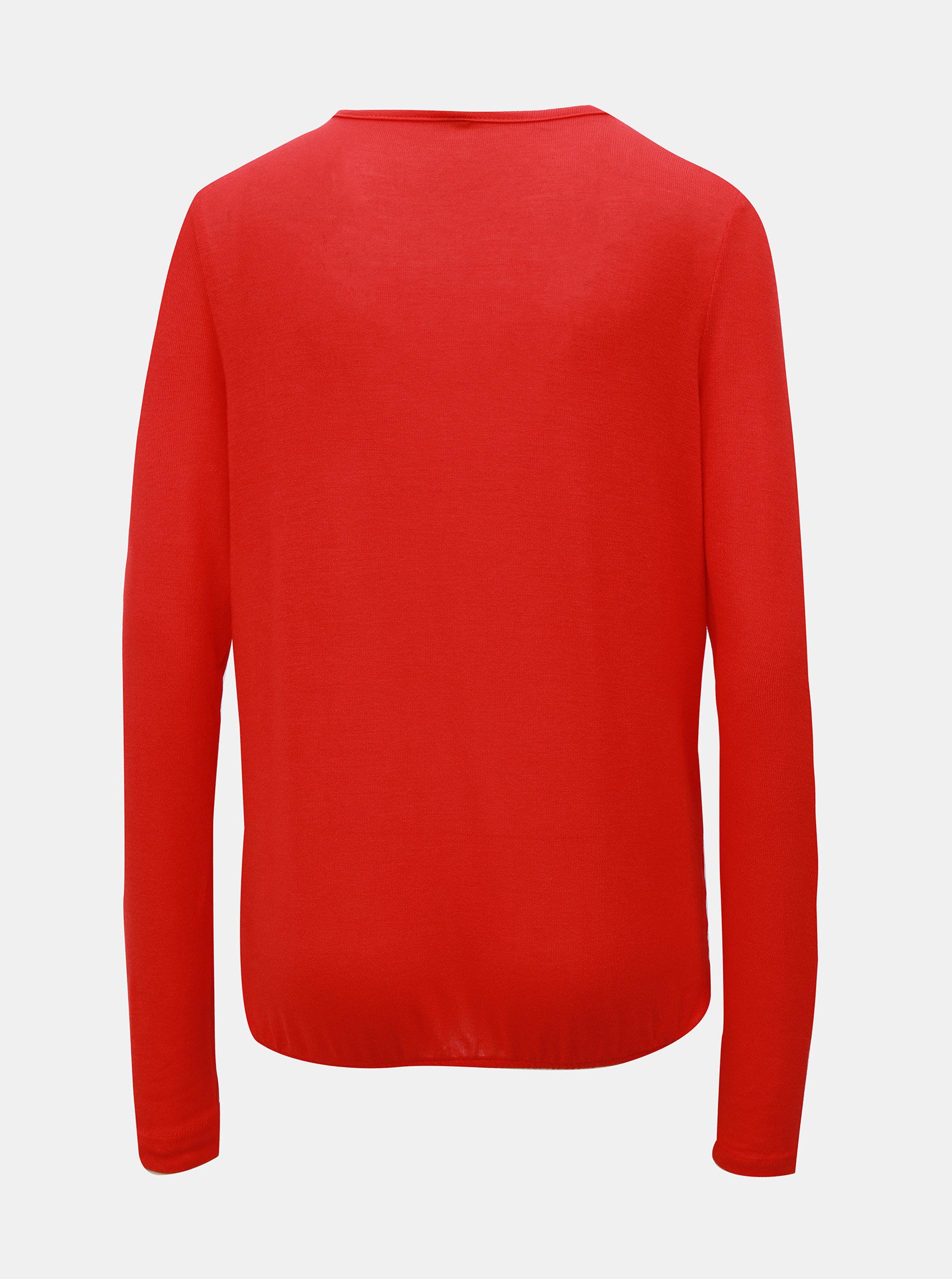 Červené tričko s překládaným předním dílem VERO MODA Peja