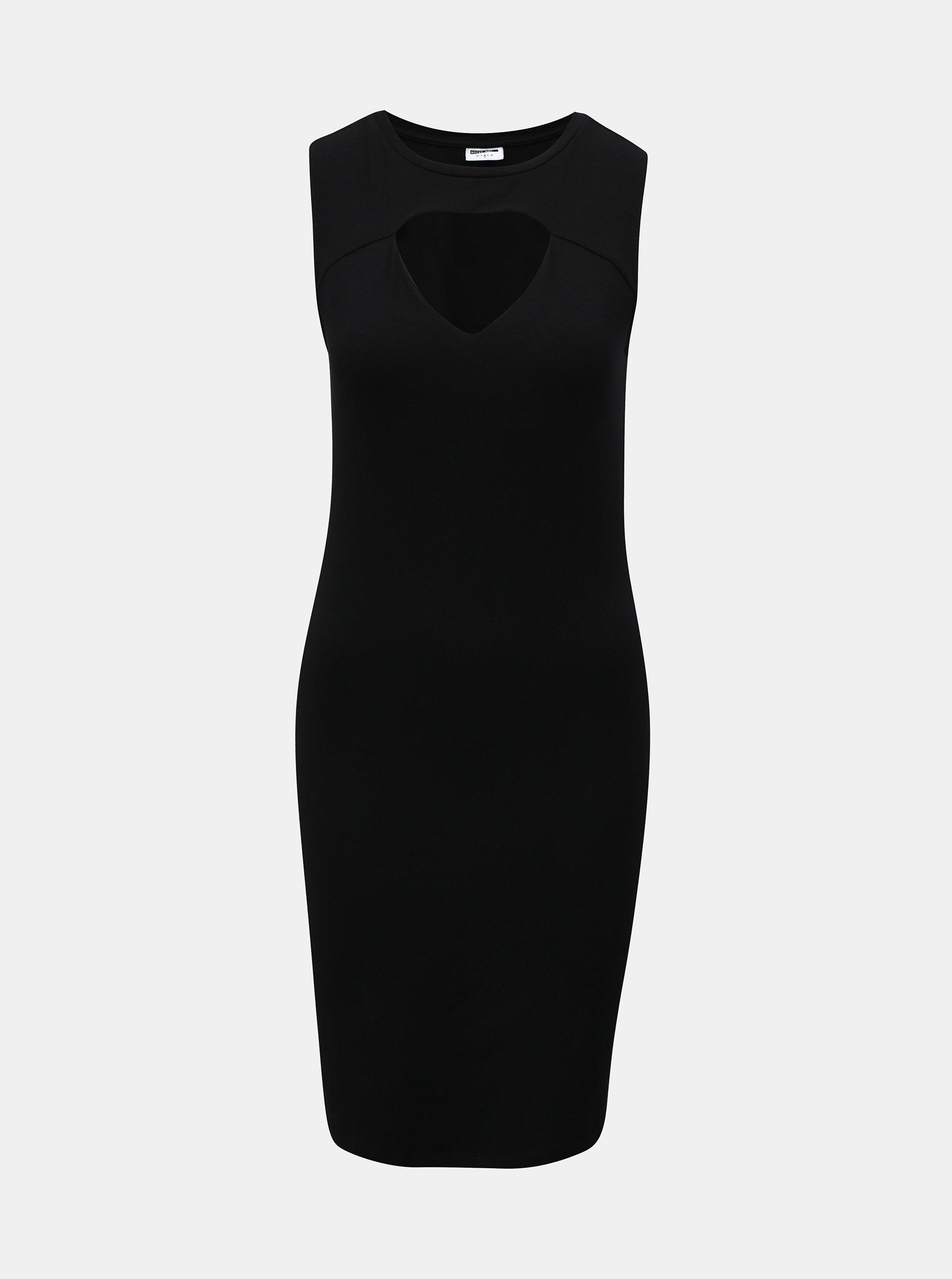 Černé pouzdrové šaty s průstřihem v dekoltu Noisy May Laila