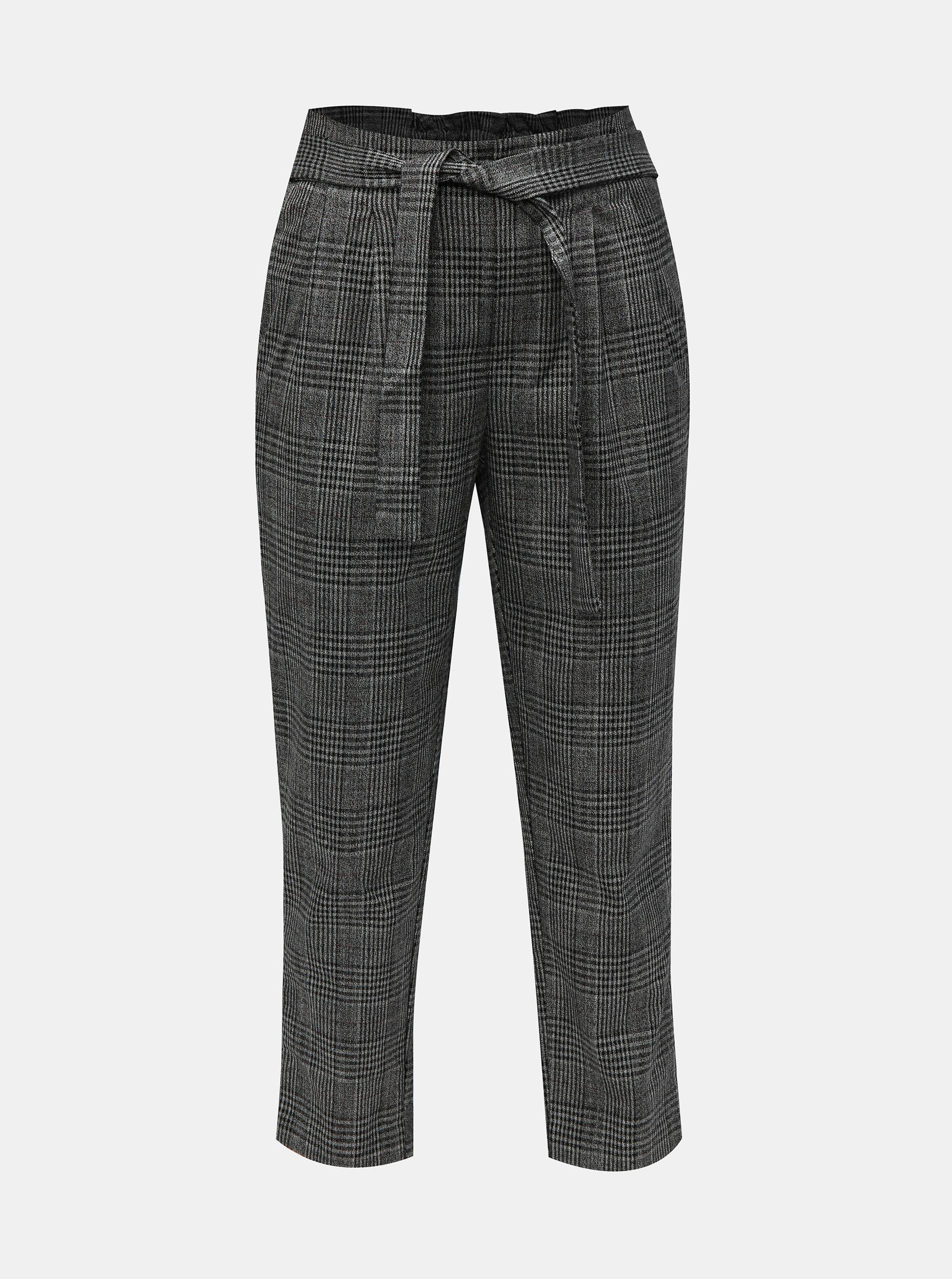 Šedé vzorované zrkácené kalhoty ONLY Florence