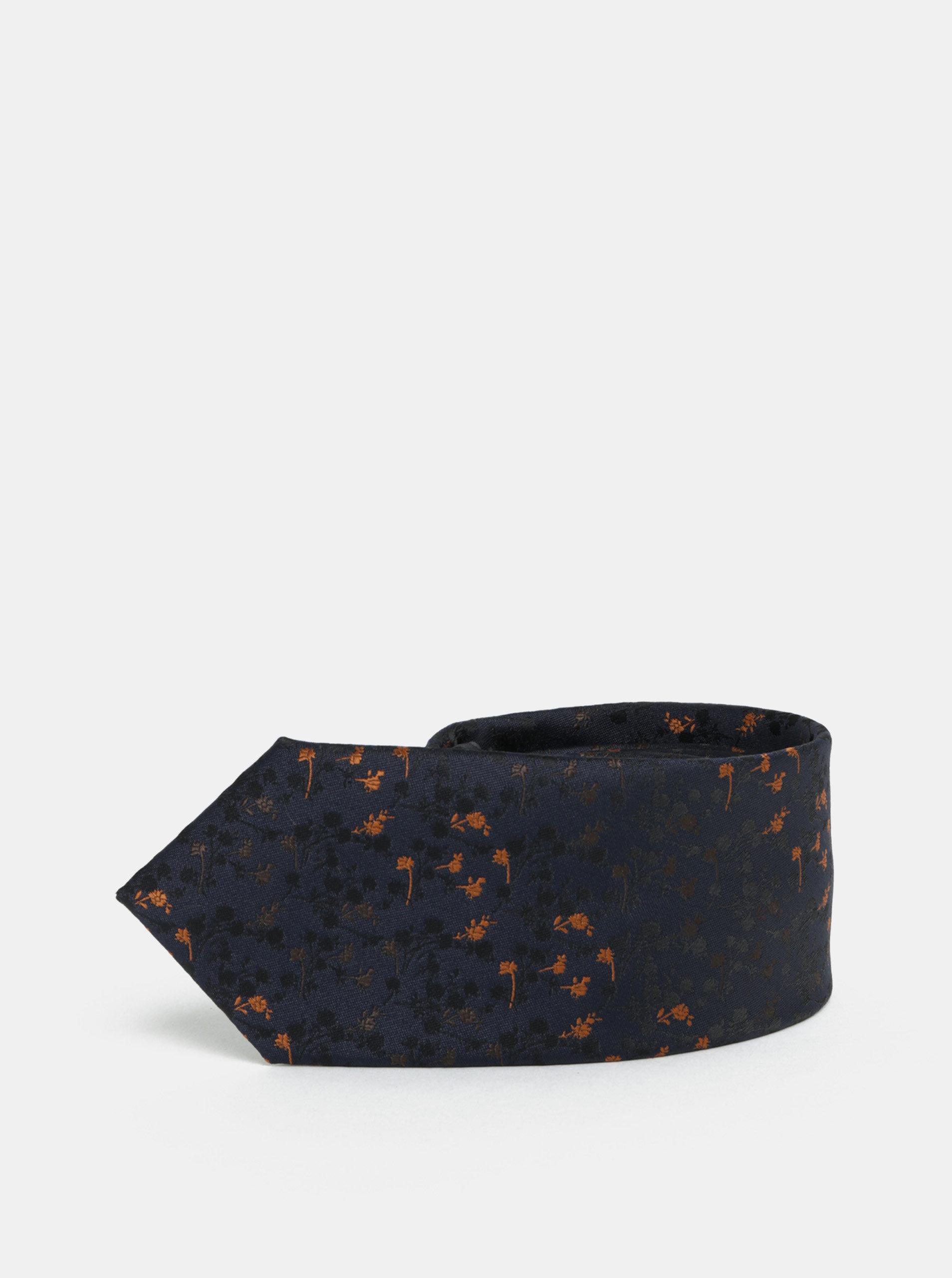 Tmavě modrá květovaná slim kravata Selected Homme Valdemar