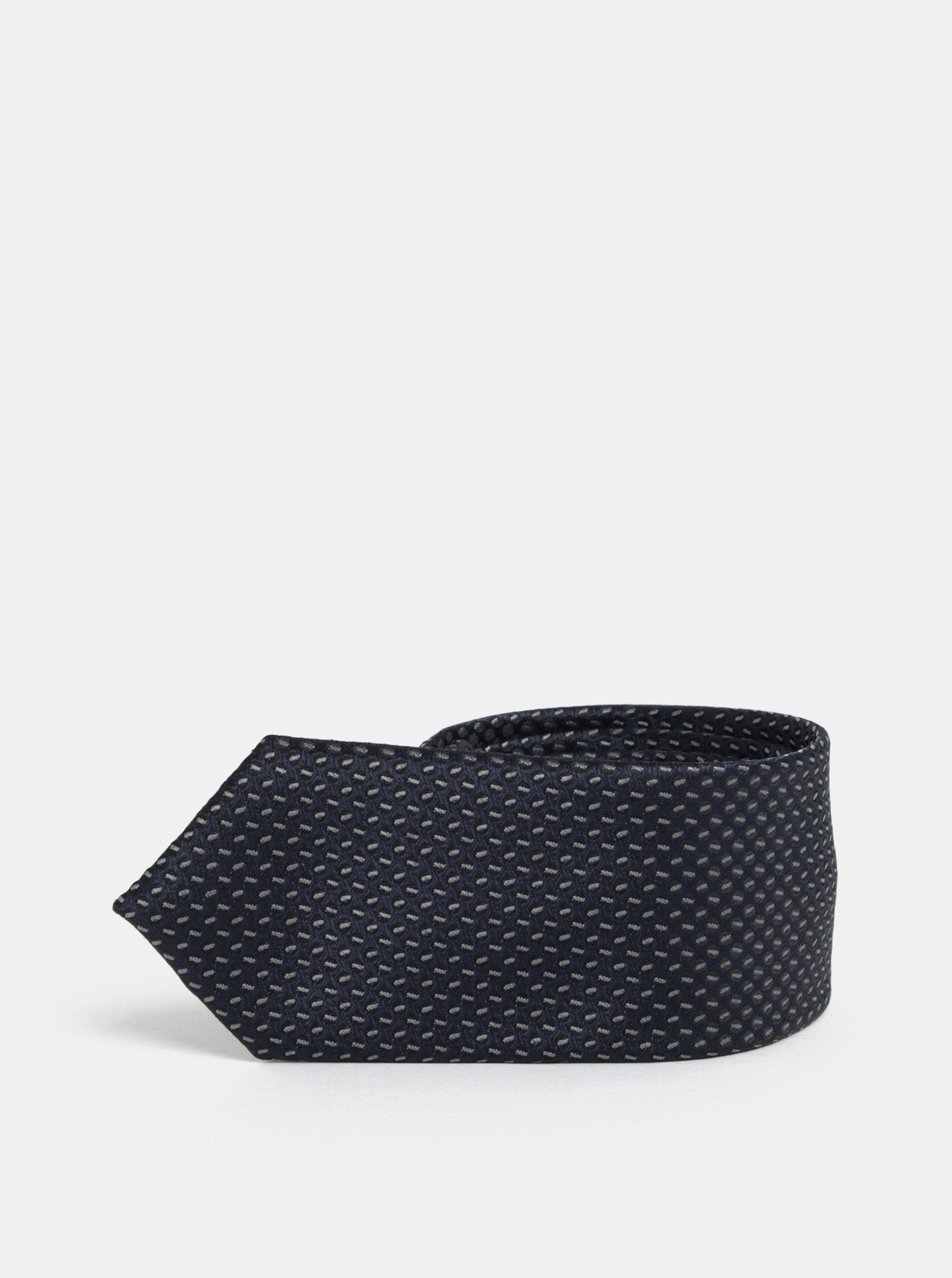 Šedo-modrá vzorovaná slim kravata Selected Homme Vilhelm