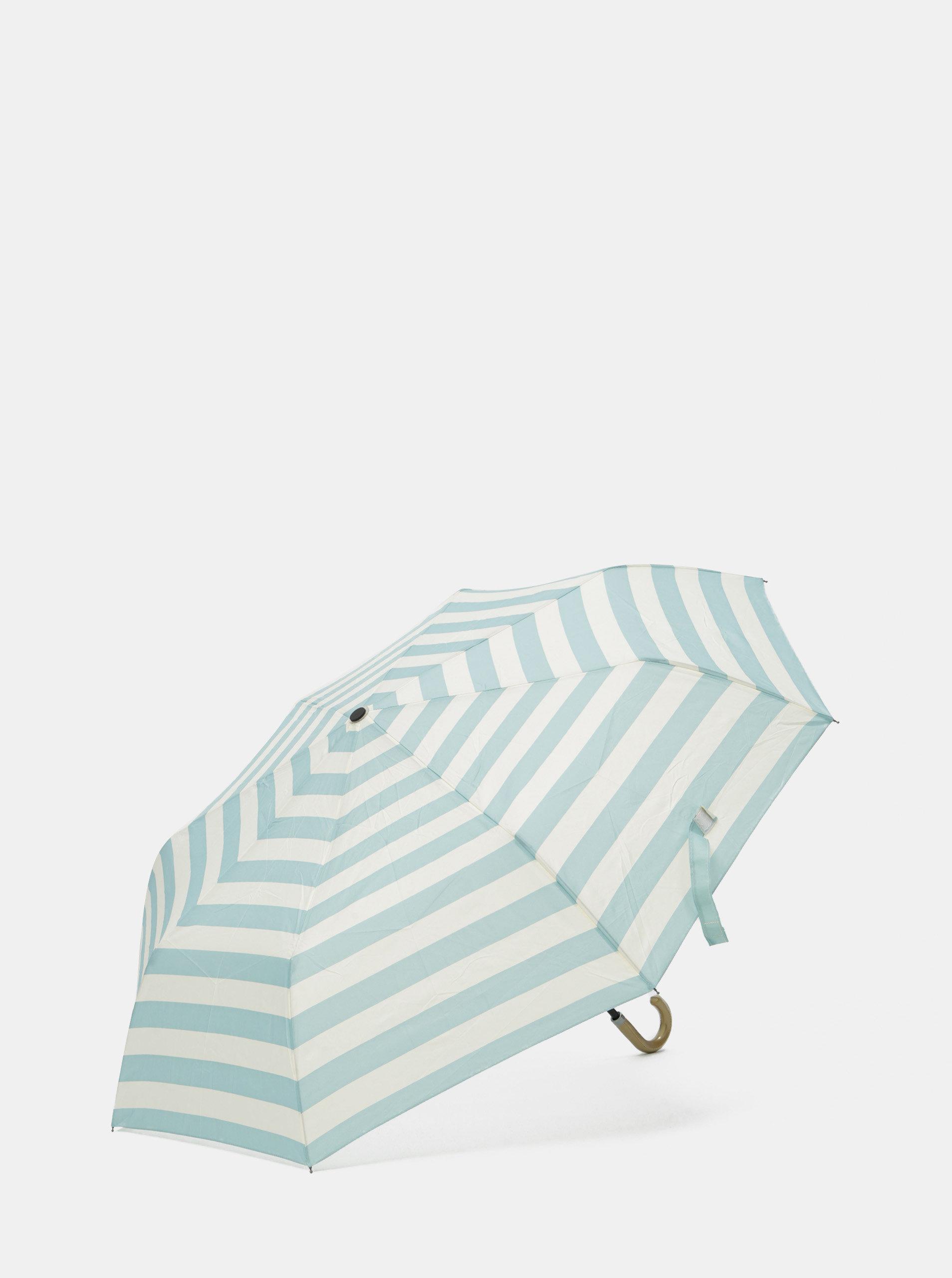 Krémovo-modrý pruhovaný deštník Rainy Seasons