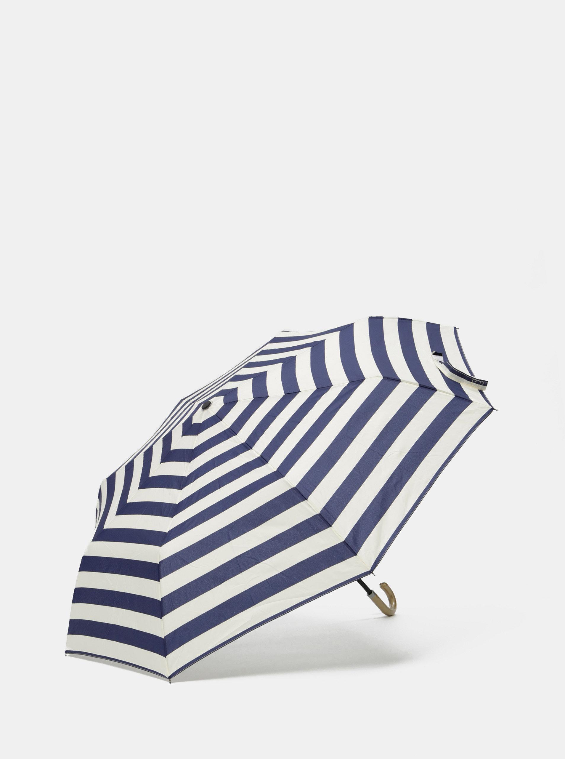 Krémovo-tmavě modrý pruhovaný deštník Rainy Seasons