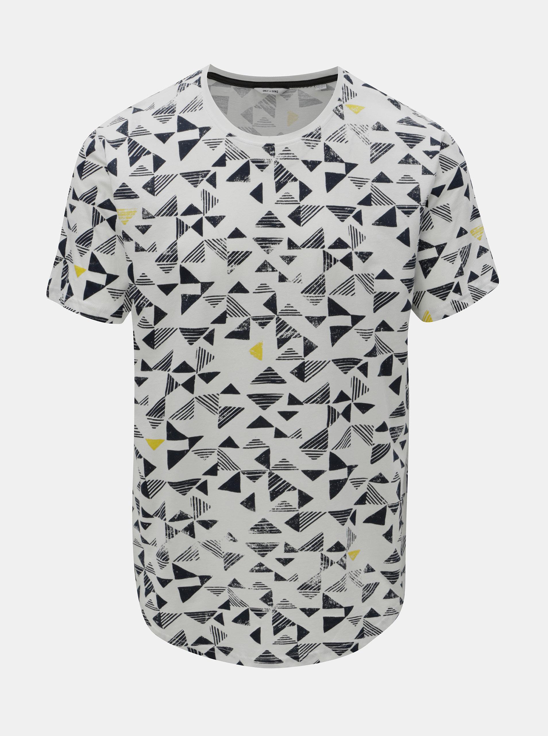 fae8d4ad7137 Biele tričko s geometrickou potlačou ONLY   SONS Gene ...
