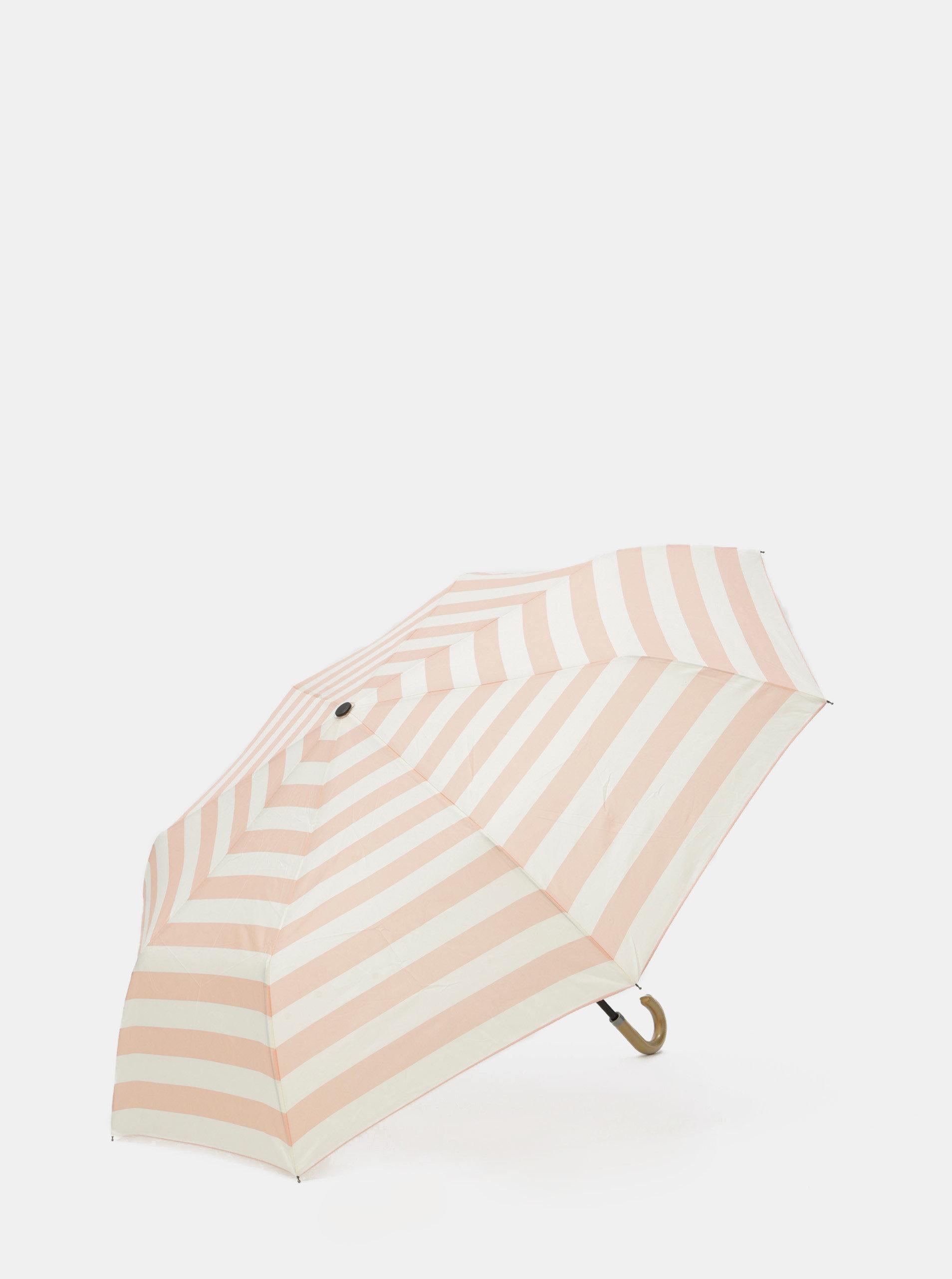 Krémovo-růžový pruhovaný deštník Rainy Seasons