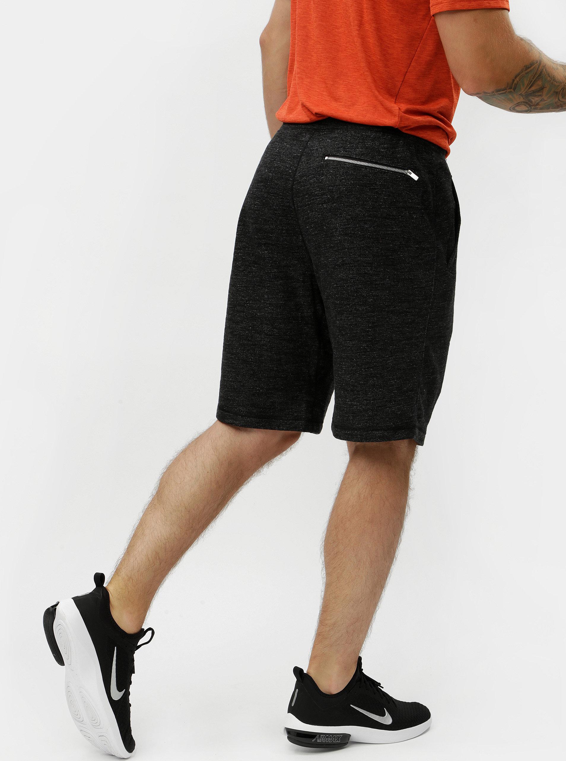 8352ebbbc8 Tmavosivé pánske melírované teplákové kraťasy Nike ...