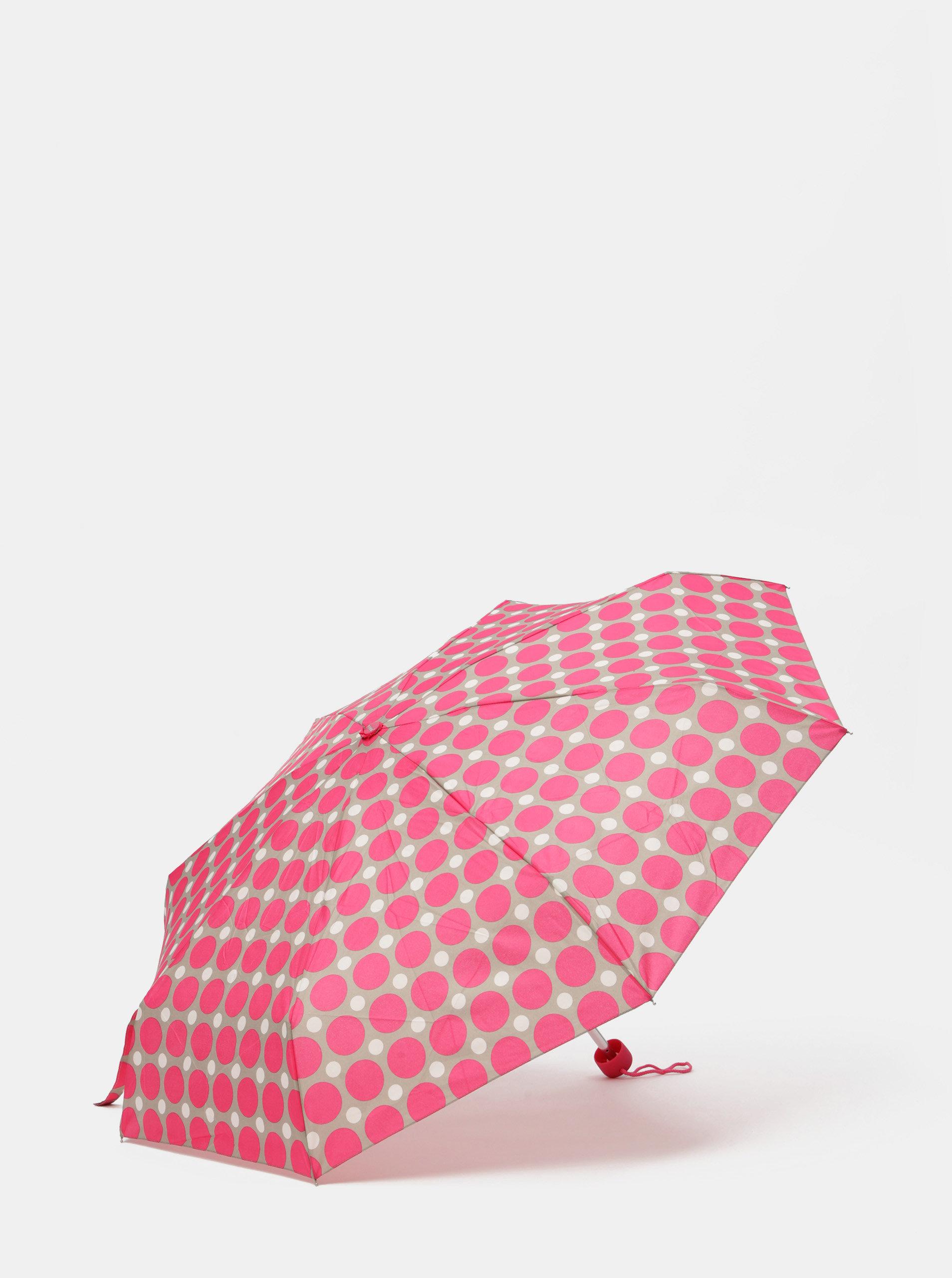 Šedo-růžový skládací puntíkovaný deštník Rainy Seasons
