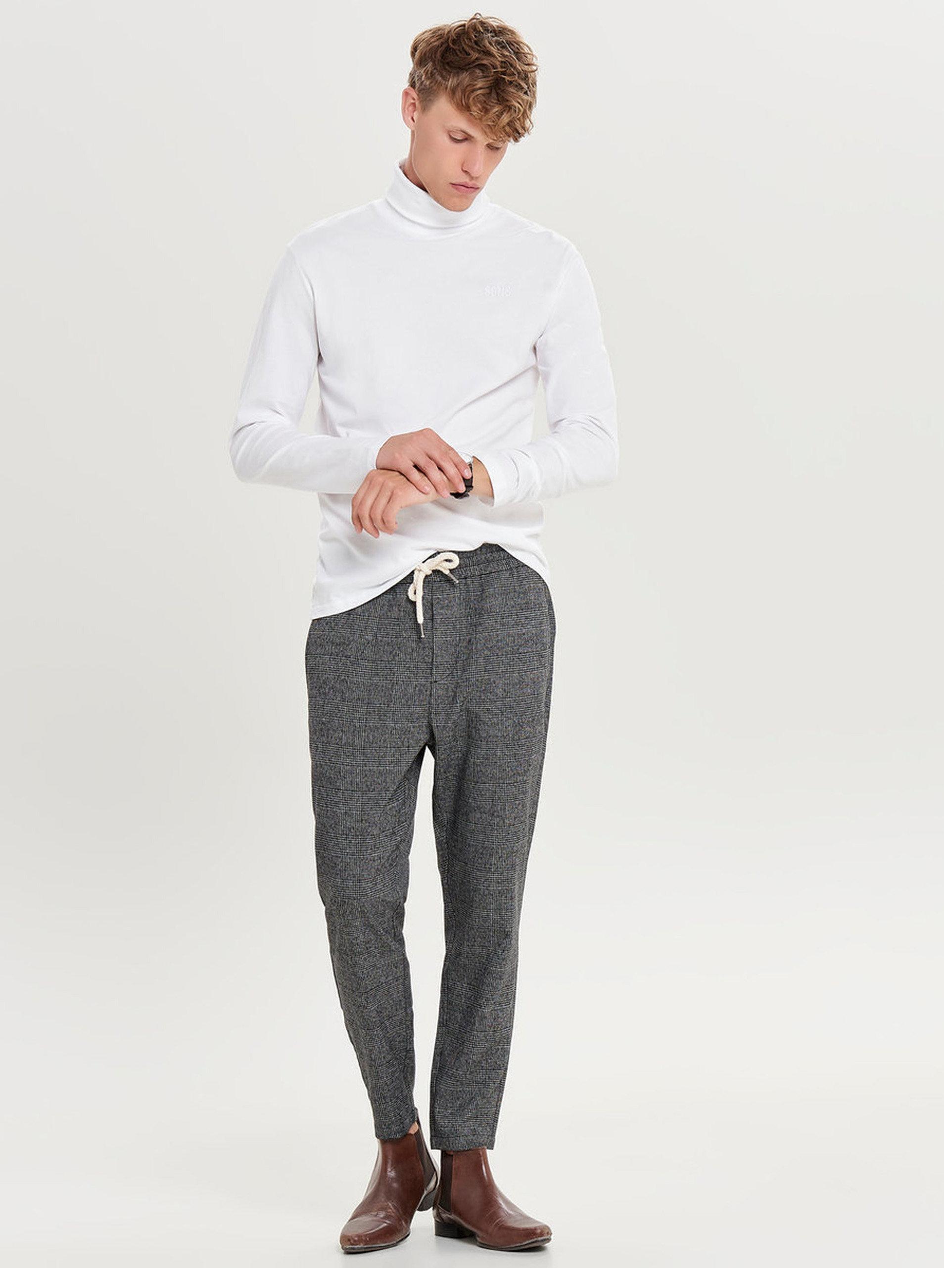 Tmavě šedé kostkované kalhoty ONLY   SONS Linus ... e767ec7b35