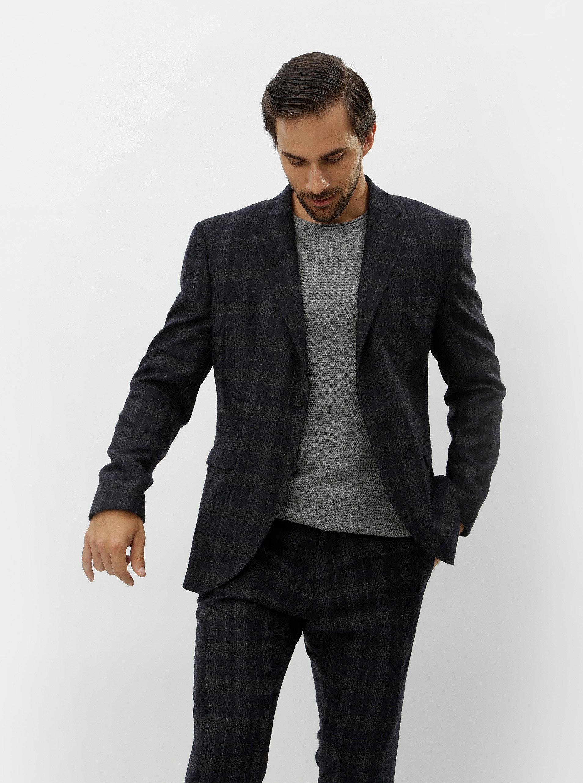 Tmavě modré vlněné kostkované oblekové sako Selected Homme