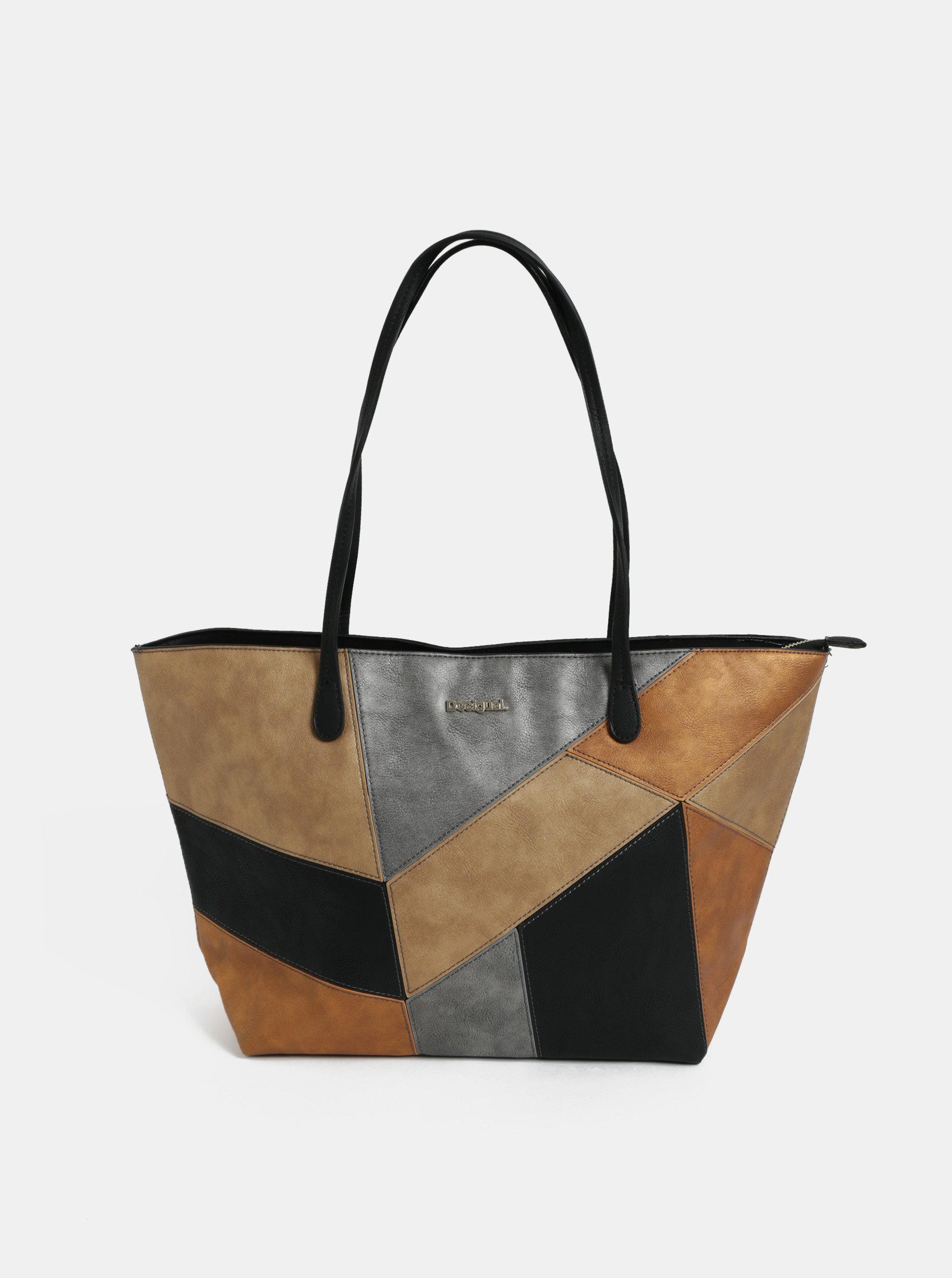 Černo-hnědá koženková kabelka Desigual Ares