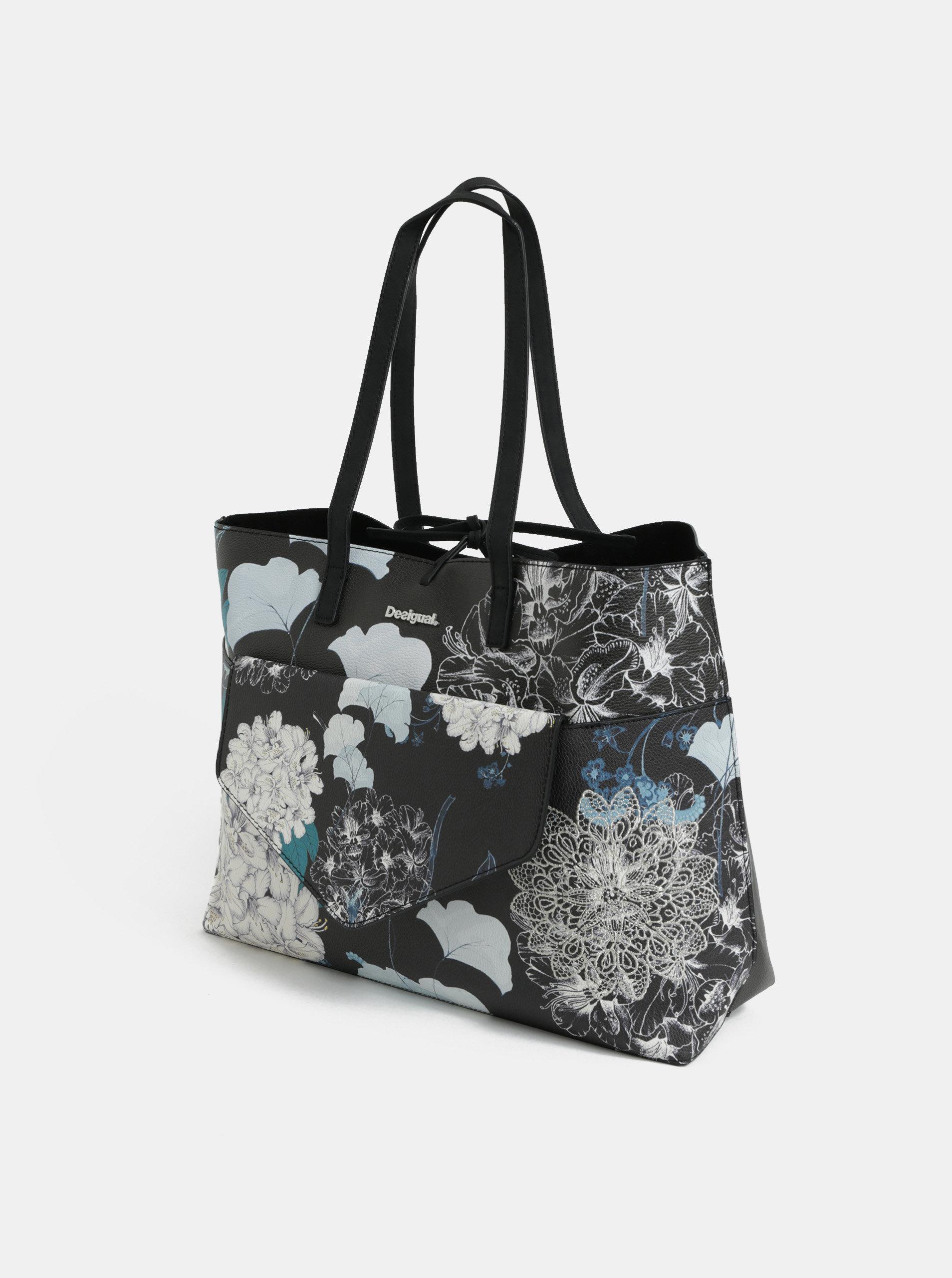 e98d05d5d6 Krémovo-čierny obojstranný shopper s listovou kabelkou Desigual Arcadia ...