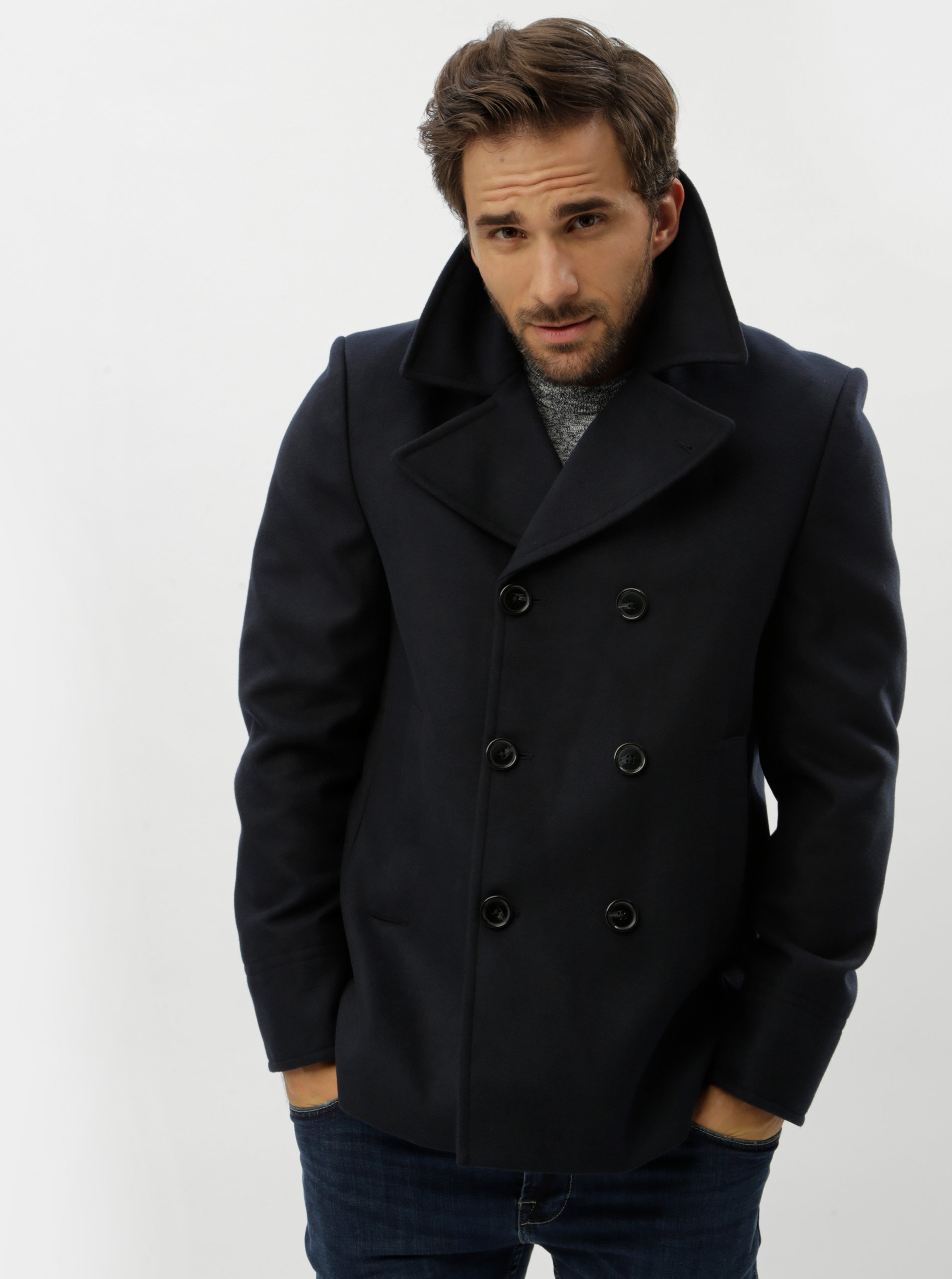 Tmavě modrý kabát Burton Menswear London