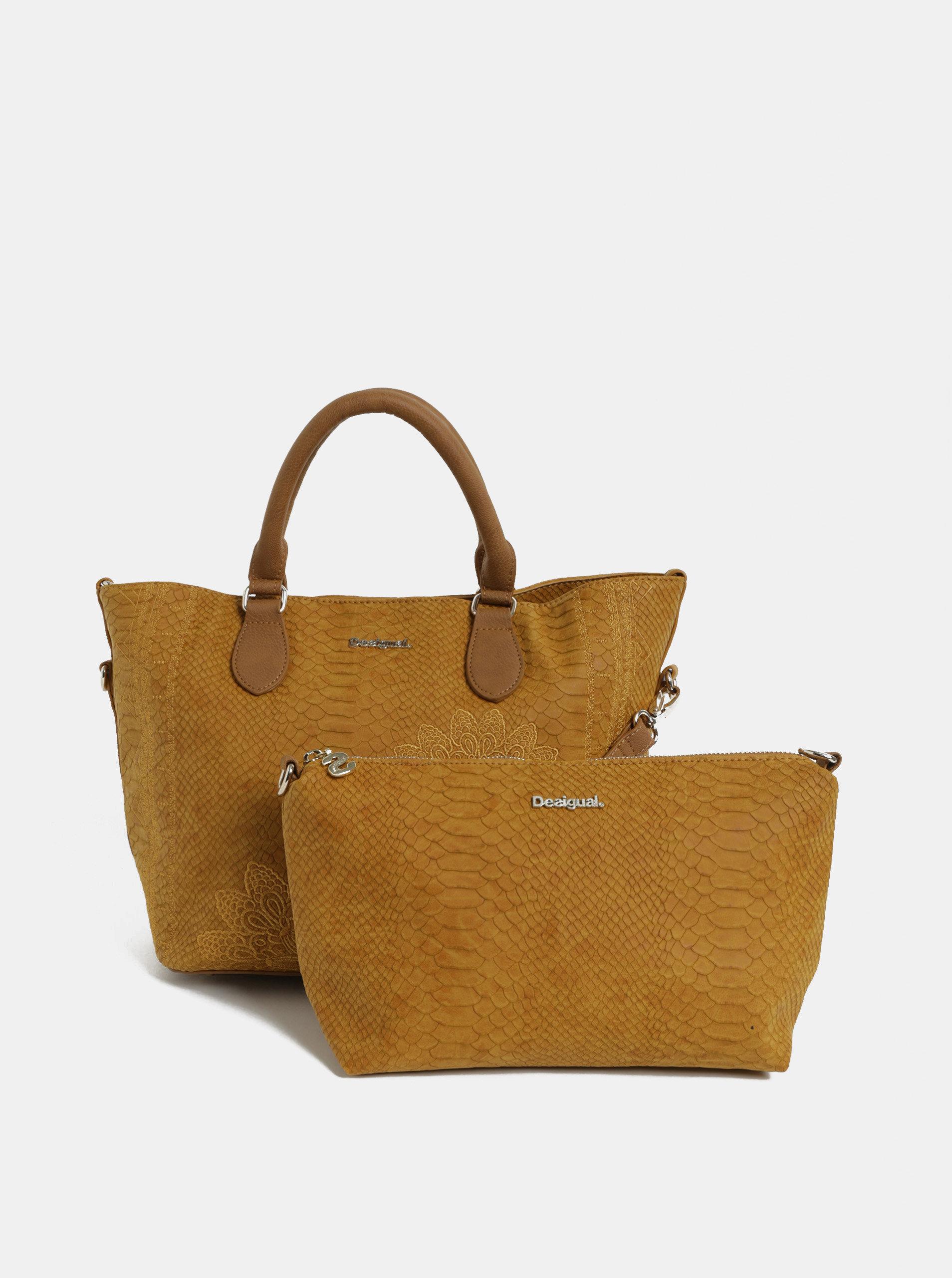 Hnědá vzorovaná kabelka s pouzdrem Desigual Aquiles