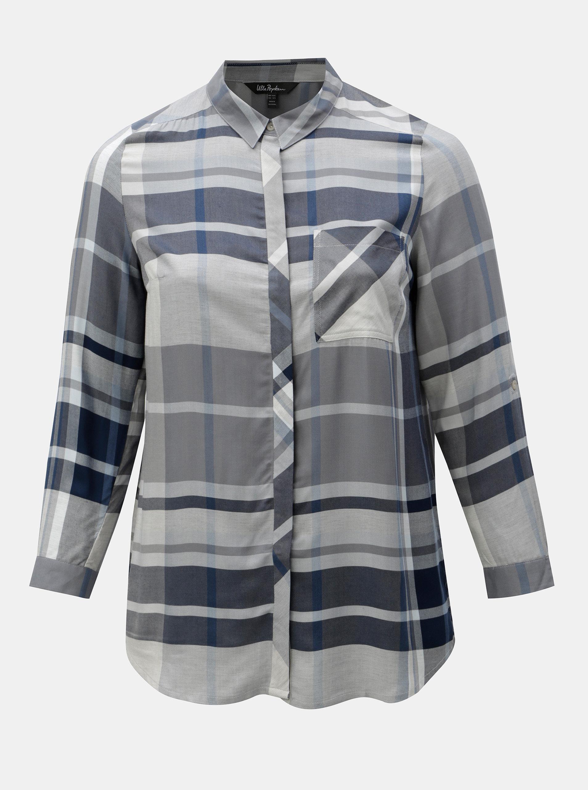 02b023e0575 Modro-šedá kostkovaná košile Ulla Popken ...