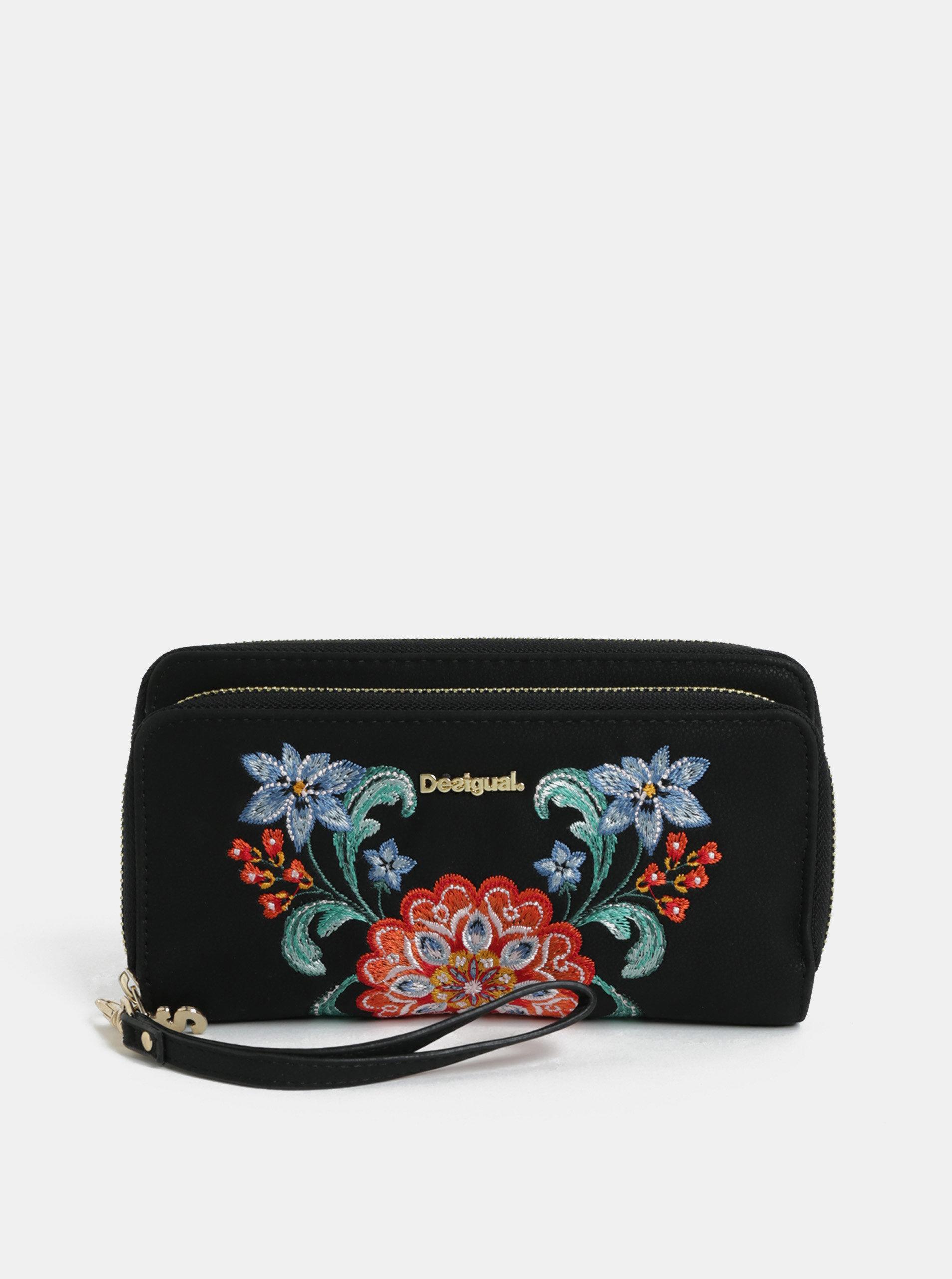 Černá peněženka s výšivkou  Desigual Odissey