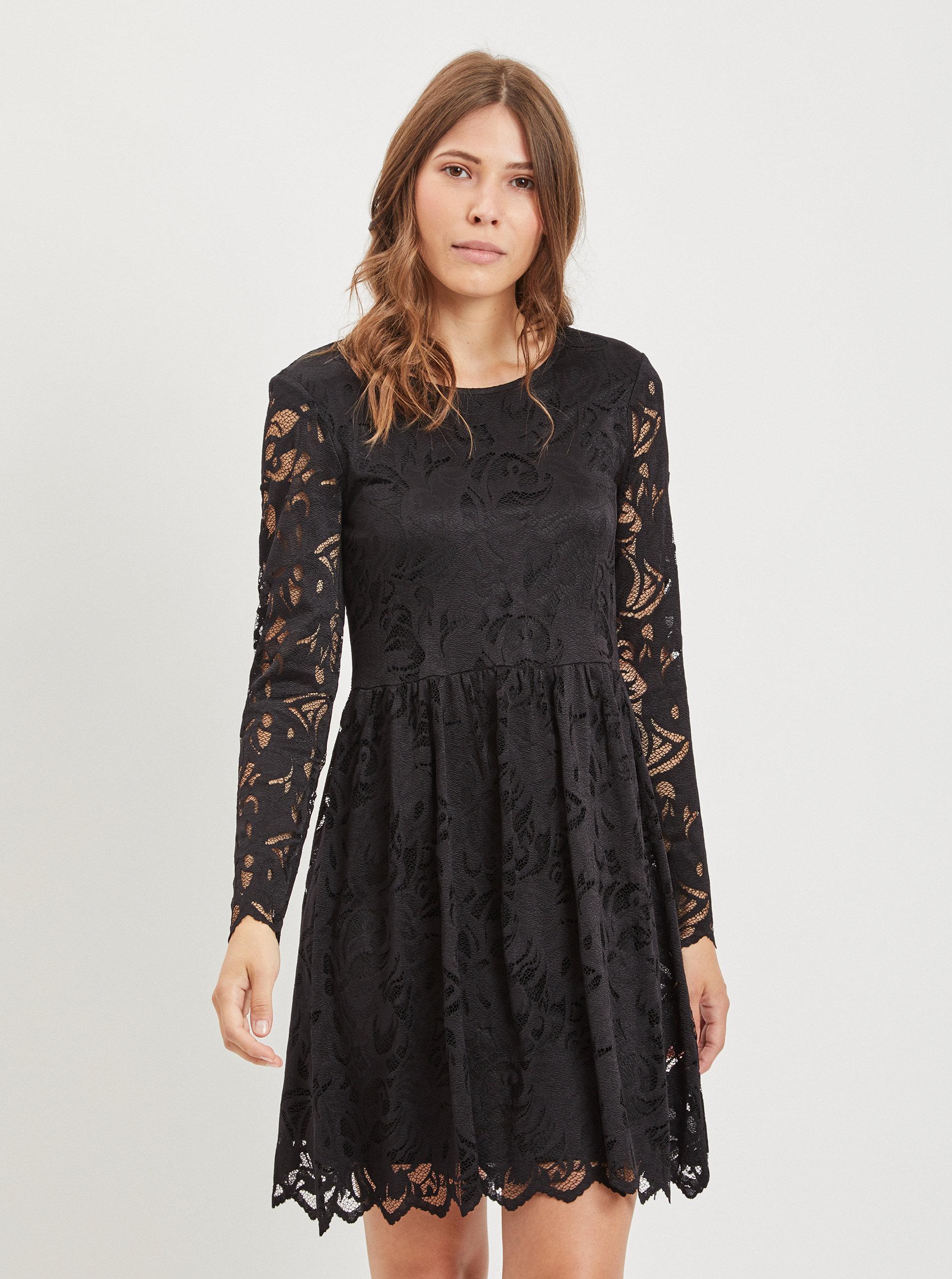 d82728cc3bd Černé krajkové šaty VILA Vistasia ...