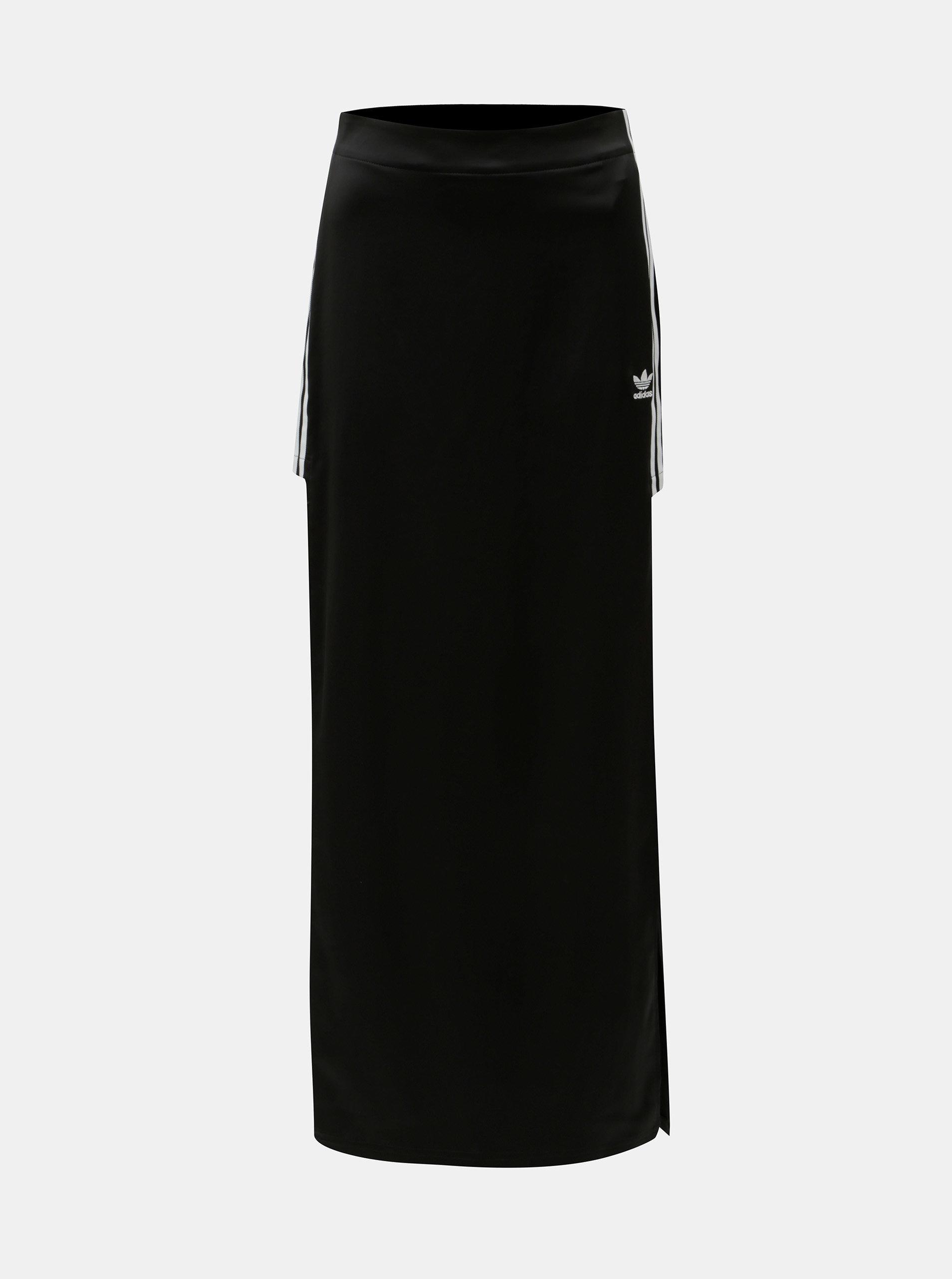 Černá maxi sukně s rozparky adidas Originals