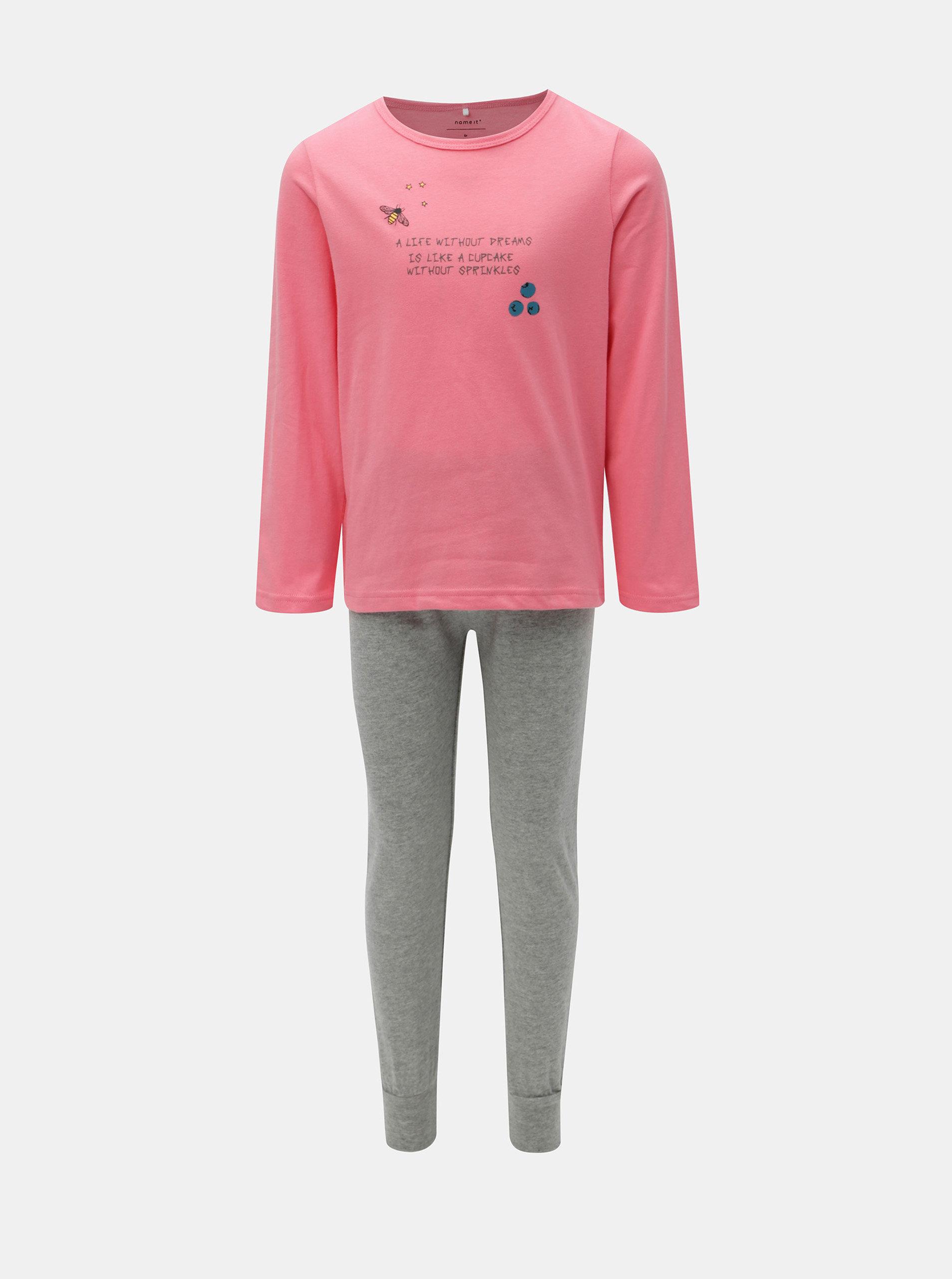 21394fdd4 Šedo-růžové holčičí dvoudílné pyžamo Name it Bublegum | ZOOT.cz