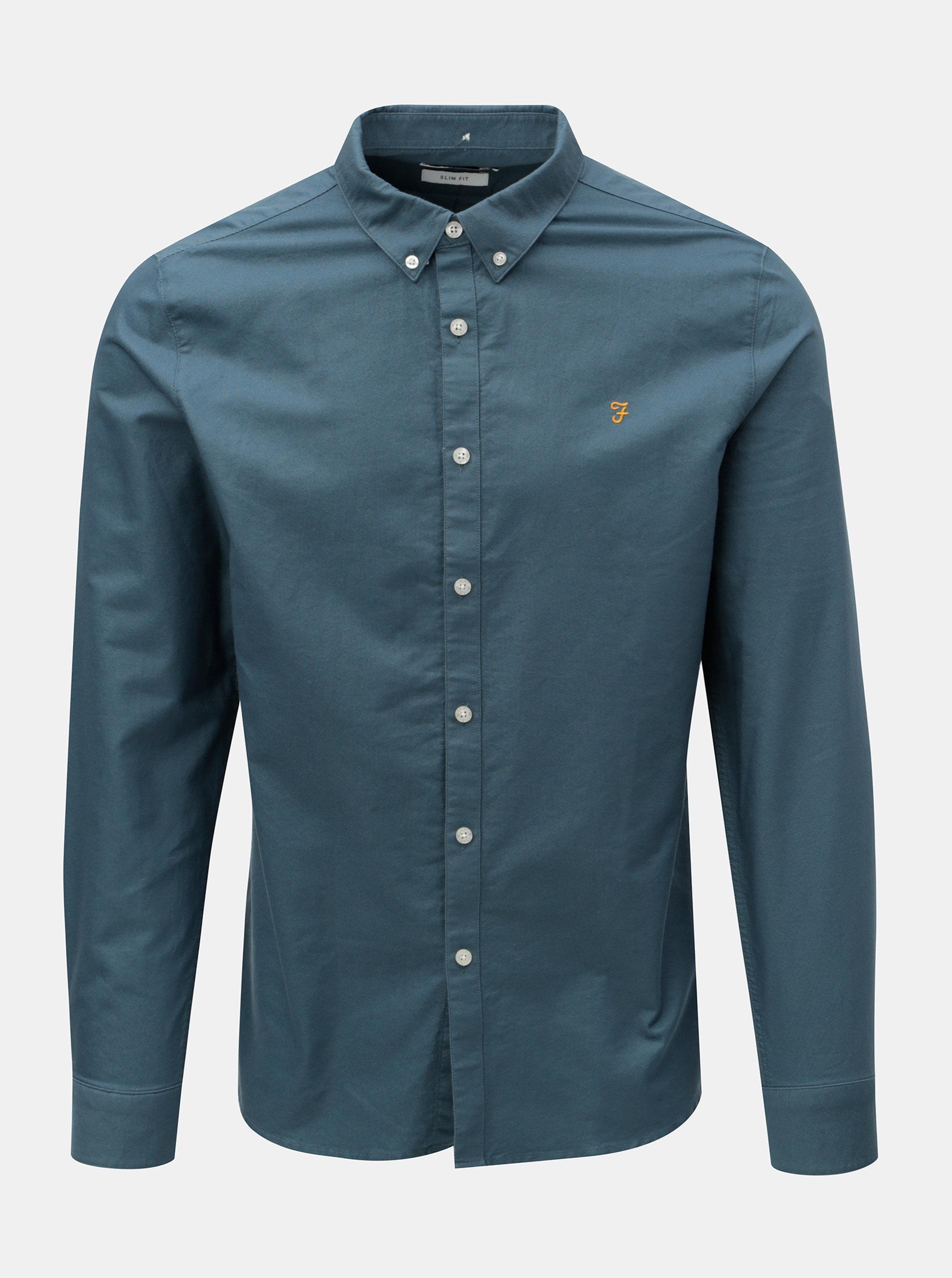 Modrá slim fit košile Farah Brewer