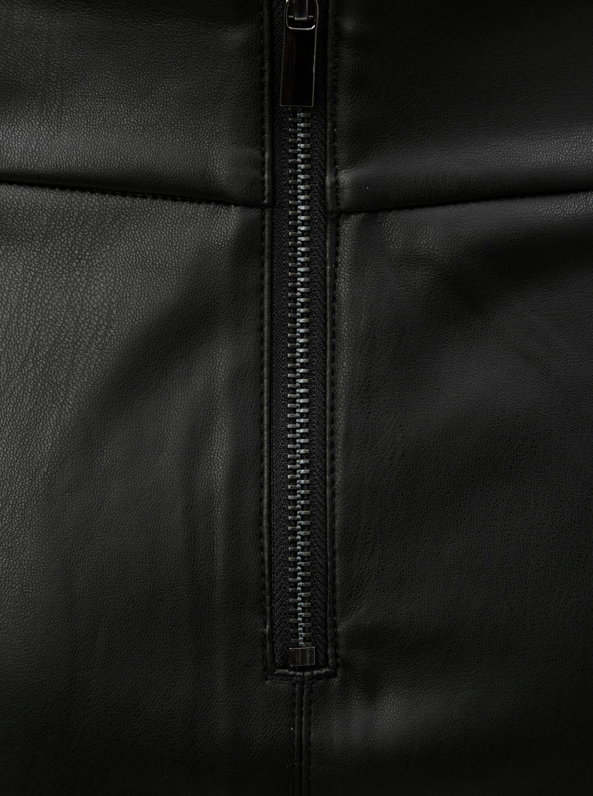94ffe4e4f444 Čierna koženková sukňa s rozparkom v zadnej časti Dorothy Perkins ...