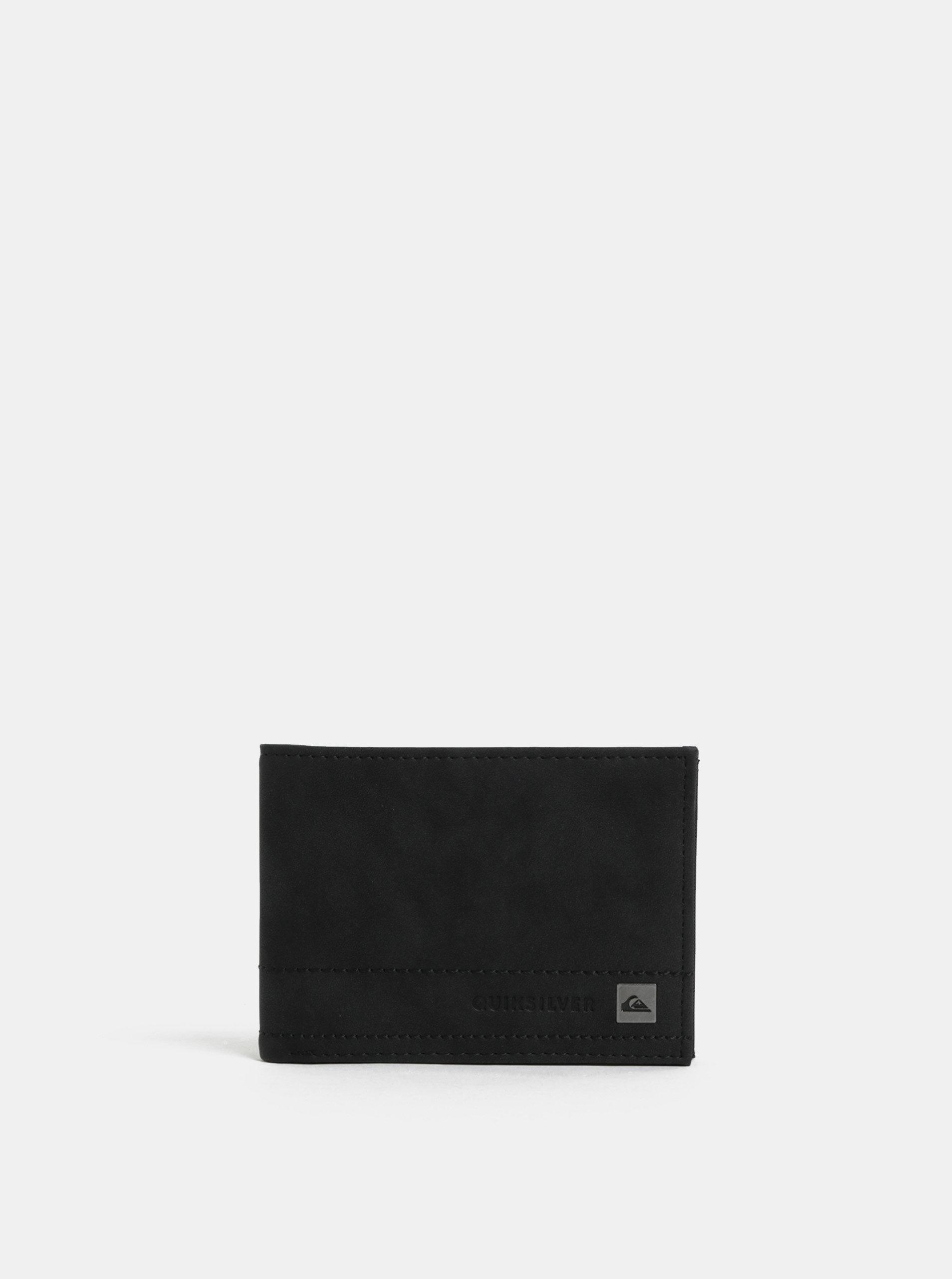 Černá pánská koženková peněženka s prošíváním Quiksilver