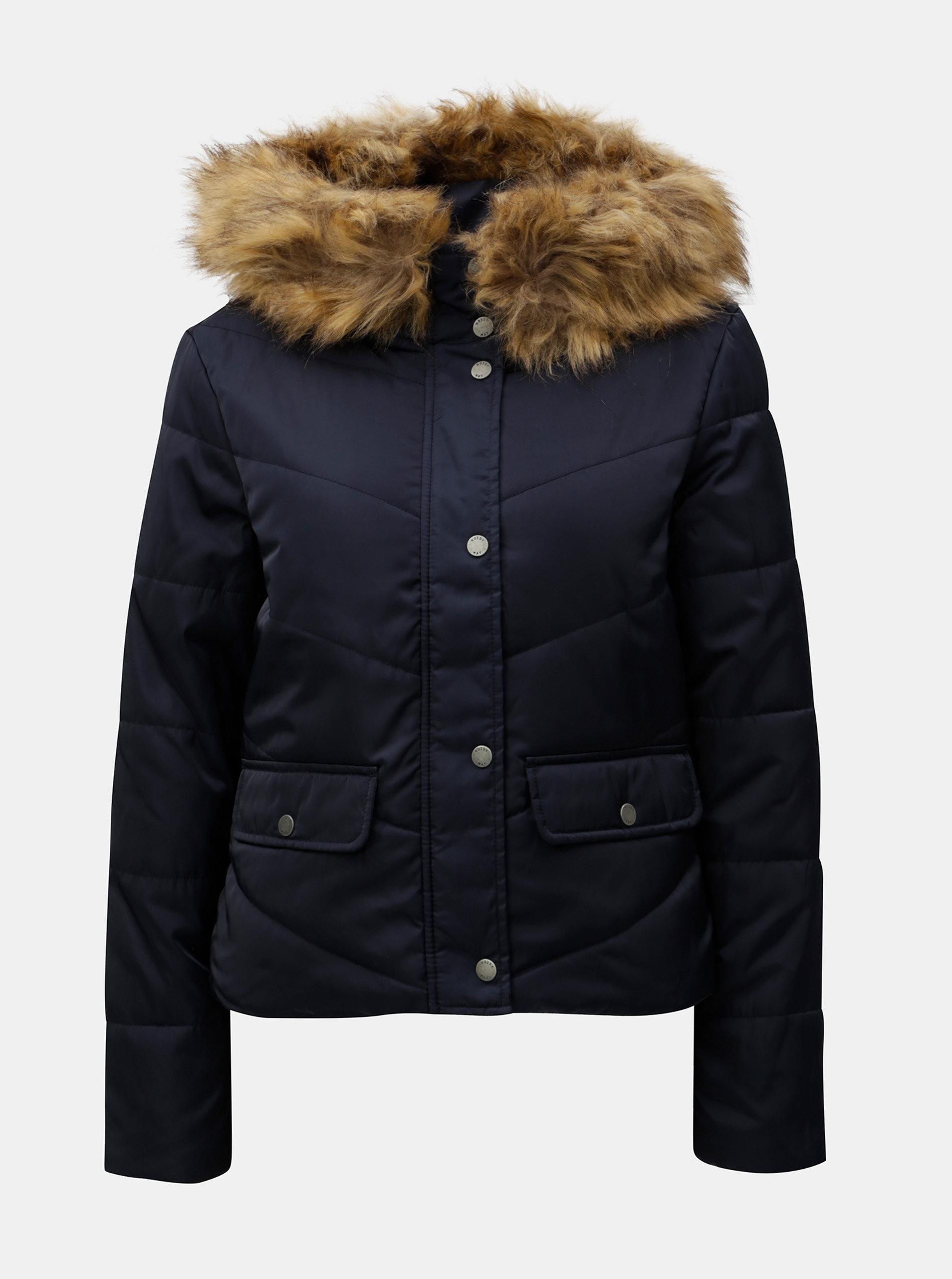 Tmavě modrá prošívaná zimní bunda s umělým kožíškem Noisy May