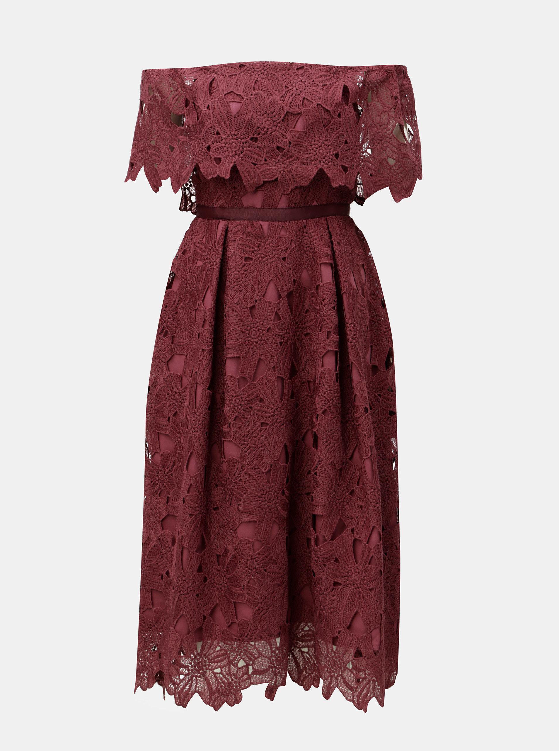 Vínové čipkové midišaty s odhalenými ramenami Dorothy Perkins ... c910b6ac65e