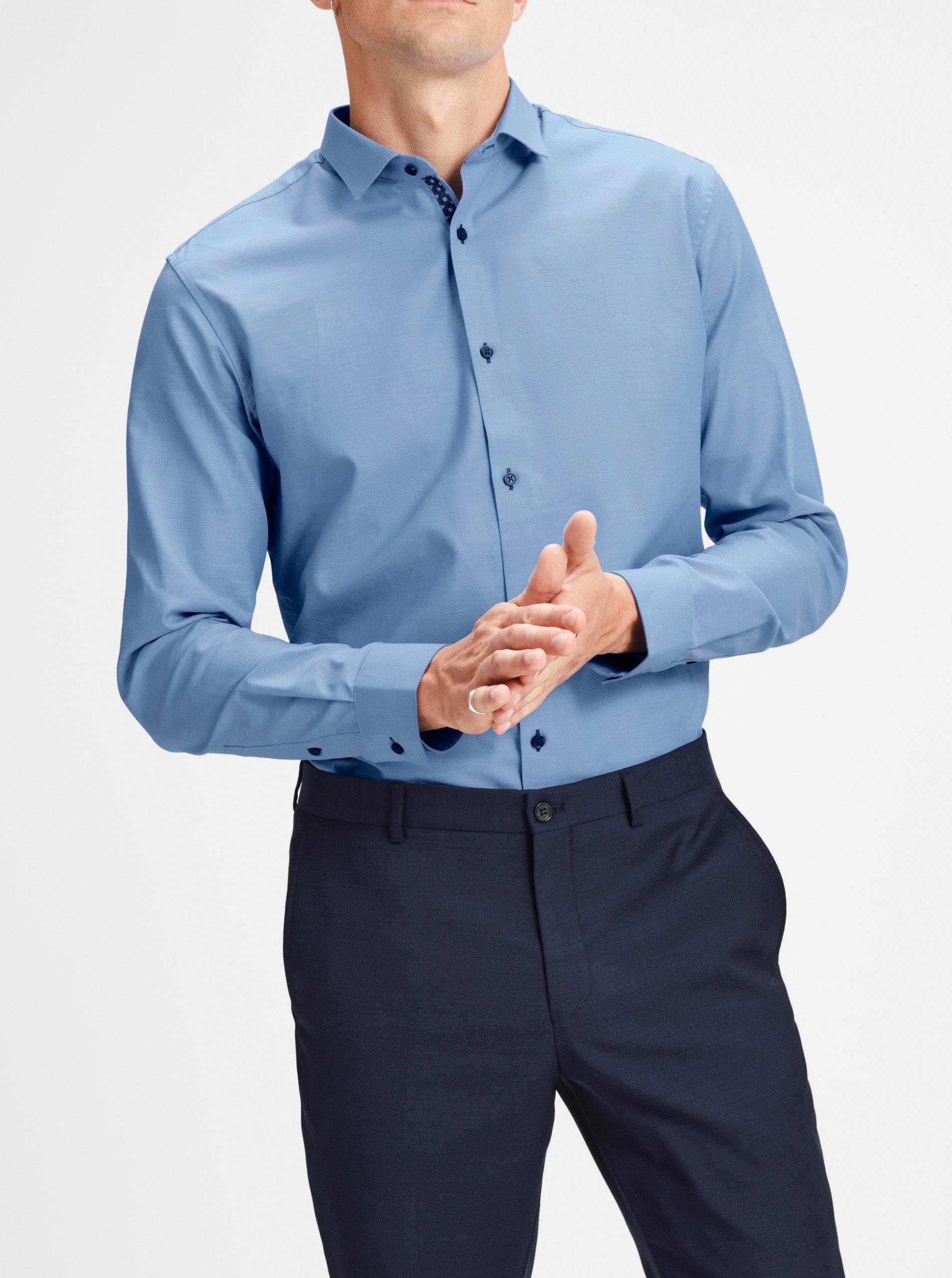 14098ab5f2b Modrá jemně vzorovaná slim fit košile Jack   Jones