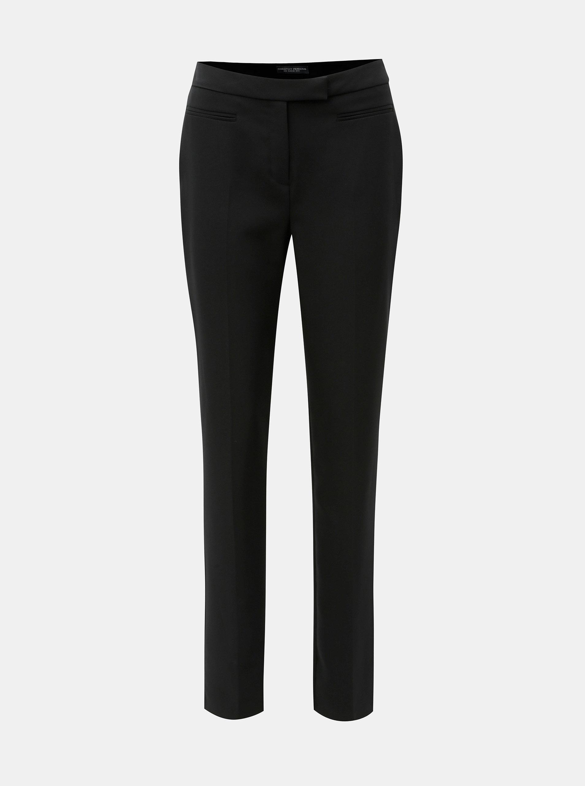 Černé straight kalhoty s vysokým pasem Dorothy Perkins Tall